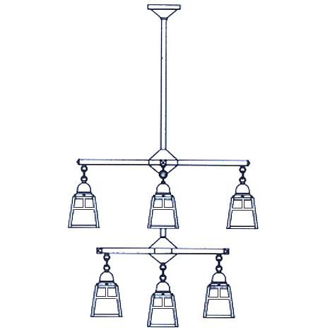 Arroyo Craftsman A-Line 29 Inch 9 Light Chandelier A-Line - ACH-4-4-1T-M-RB - Craftsman-Mission