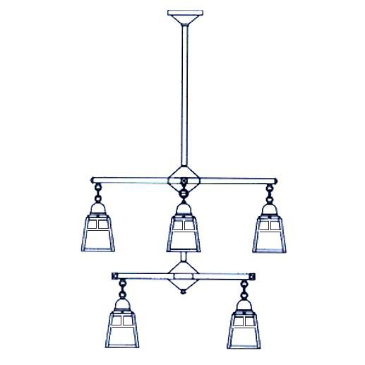 Arroyo Craftsman A-Line 29 Inch 8 Light Chandelier A-Line - ACH-4-4T-F-P - Craftsman-Mission