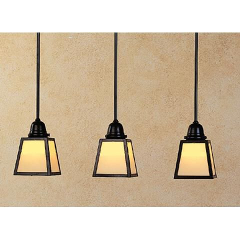 Arroyo Craftsman A-Line 24 Inch 3 Light Linear Suspension Light A-Line - AICH-3E-TN-BK - Craftsman-Mission