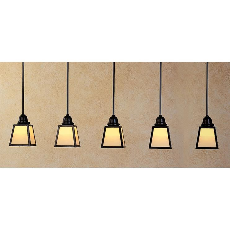 Arroyo Craftsman A-Line 48 Inch 5 Light Linear Suspension Light A-Line - AICH-5E-AM-BK - Craftsman-Mission