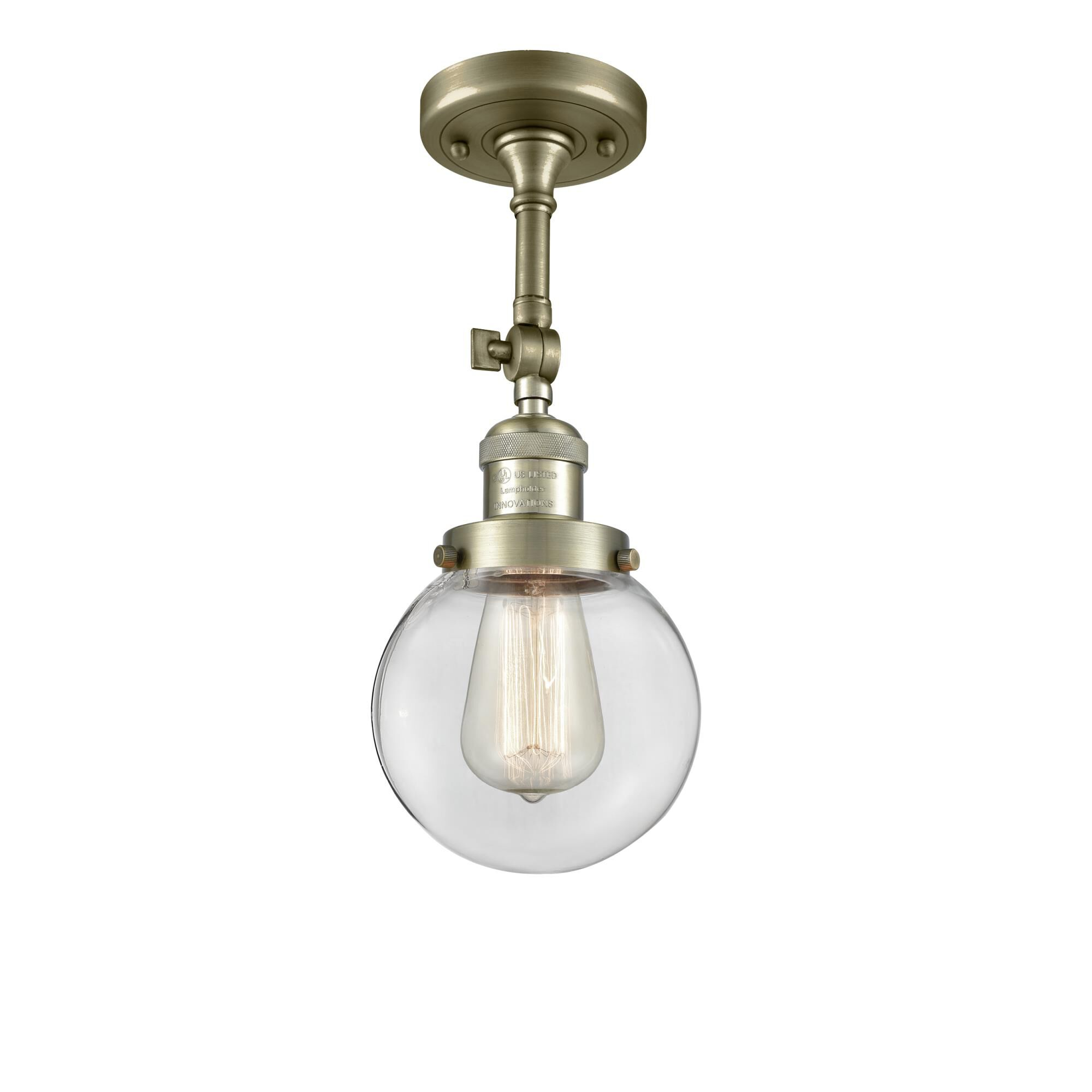 Innovations Lighting Bruno Marashlian Beacon 6 Inch 1 Light LED Semi Flush Mount Beacon - 201F-AB-G202-6-LED - Restoration-Vintage Semi Flush Mount