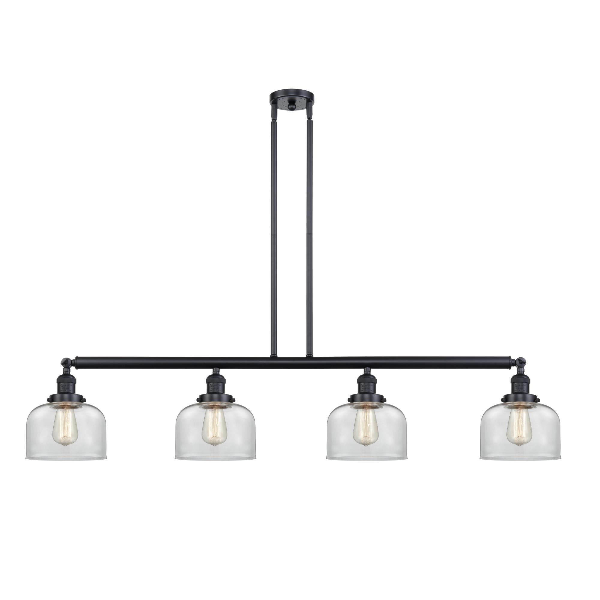 Innovations Lighting Bruno Marashlian Large Bell 52 Inch 4 Light Linear Suspension Light Large Bell - 214-BK-S-G72 - Restoration-Vintage Linear Suspen