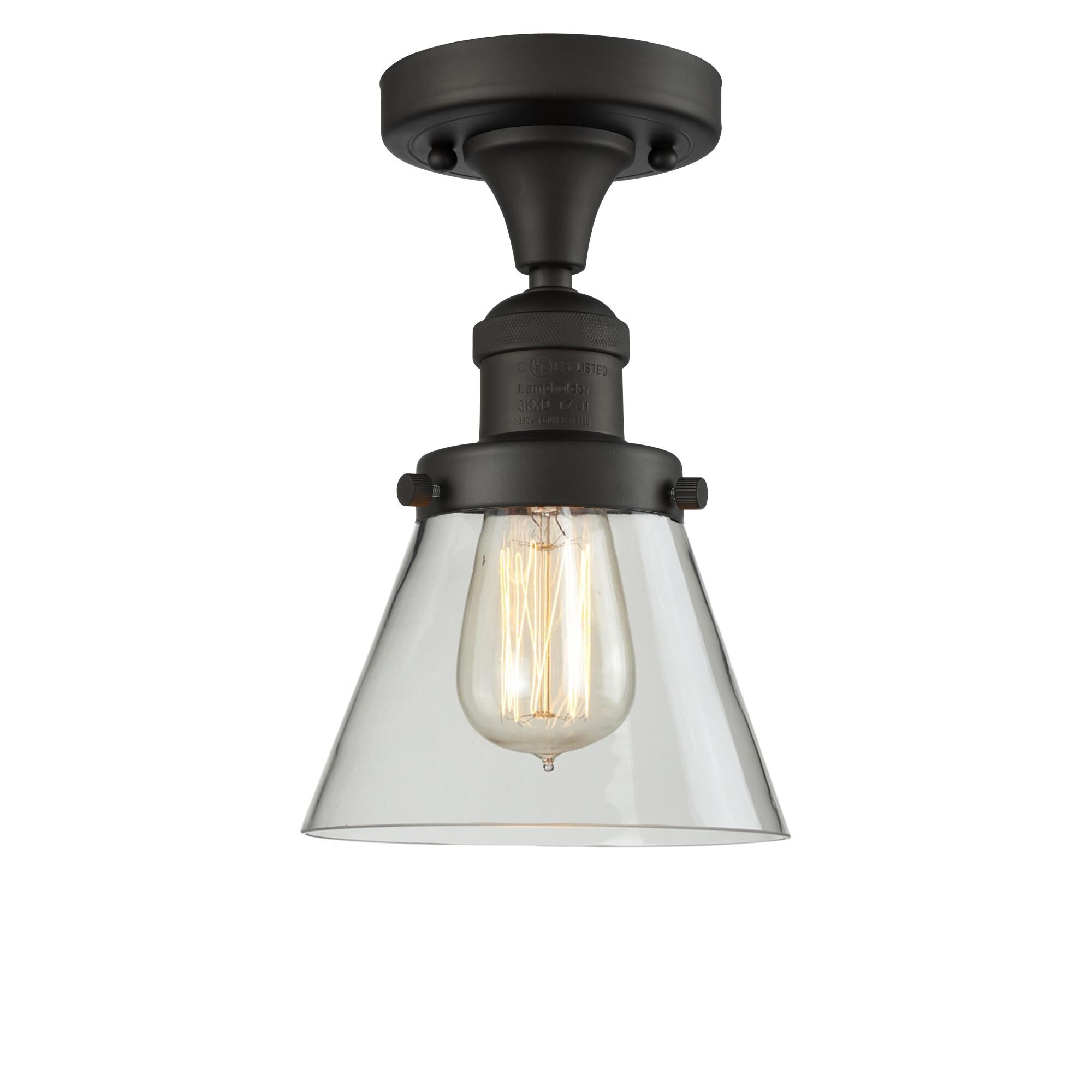 Innovations Lighting Bruno Marashlian Small Cone 6 Inch 1 Light Semi Flush Mount Small Cone - 517-1CH-OB-G62 - Restoration-Vintage Semi Flush Mount