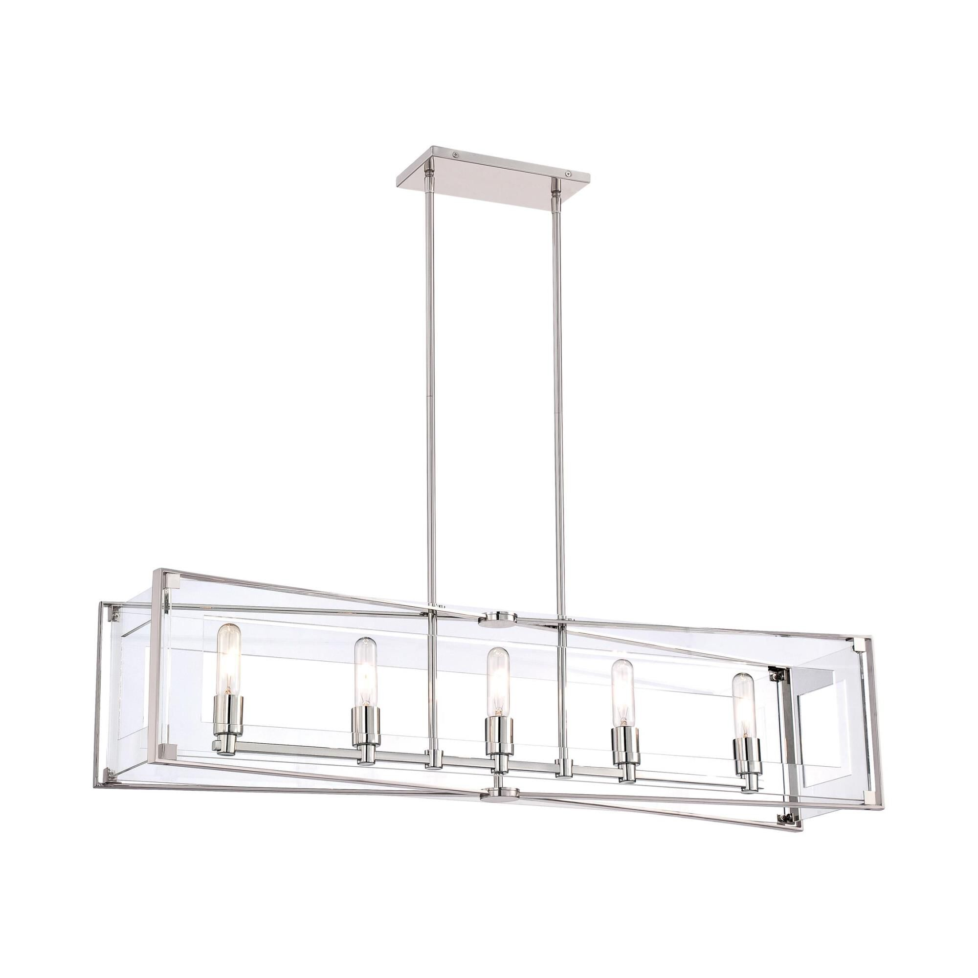 Kovacs Crystal Clear 43 Inch 5 Light Linear Suspension Light Crystal Clear - P1405-613 - Alabaster