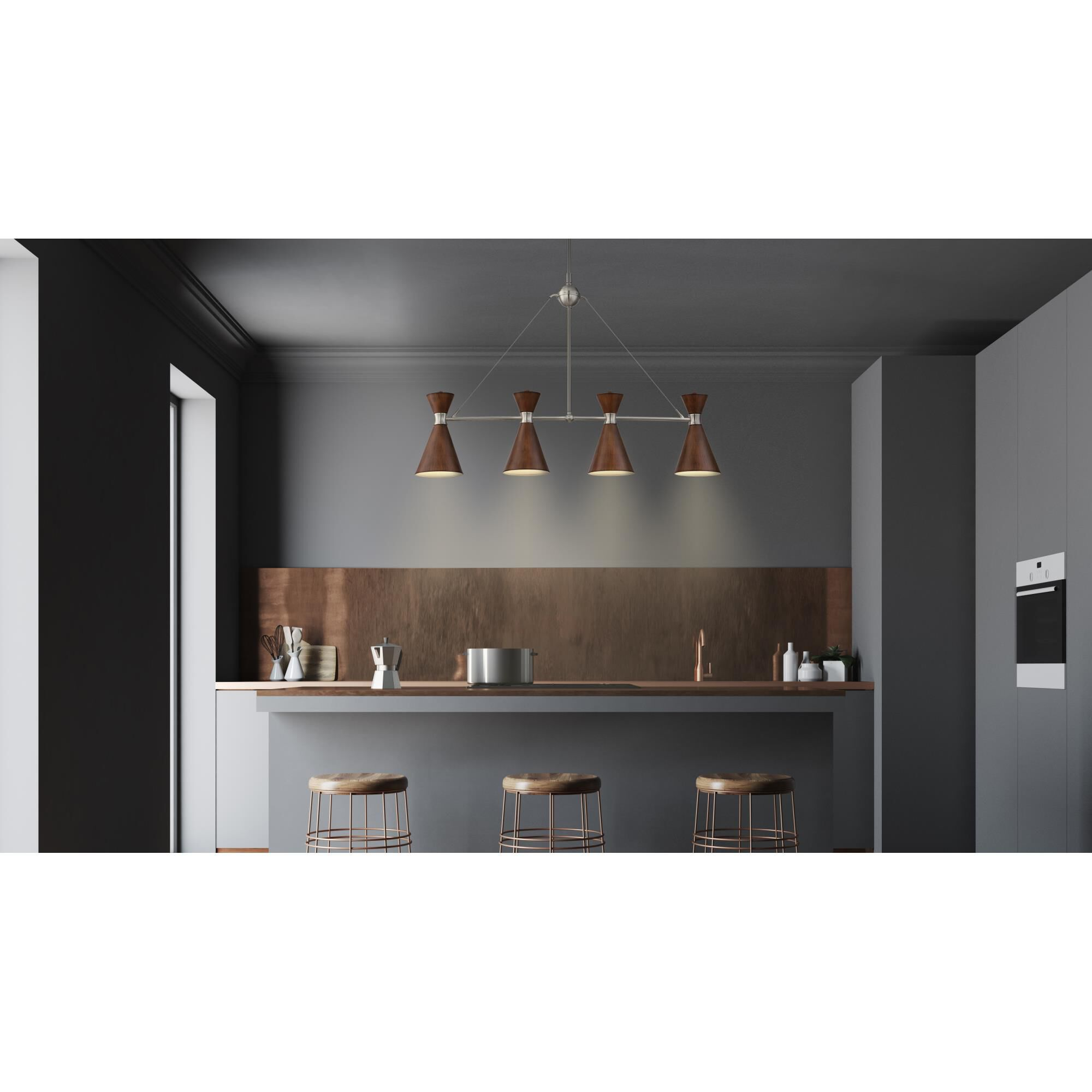 Kovacs Conic 35 Inch 4 Light Linear Suspension Light Conic - P1824-651 - Transitional
