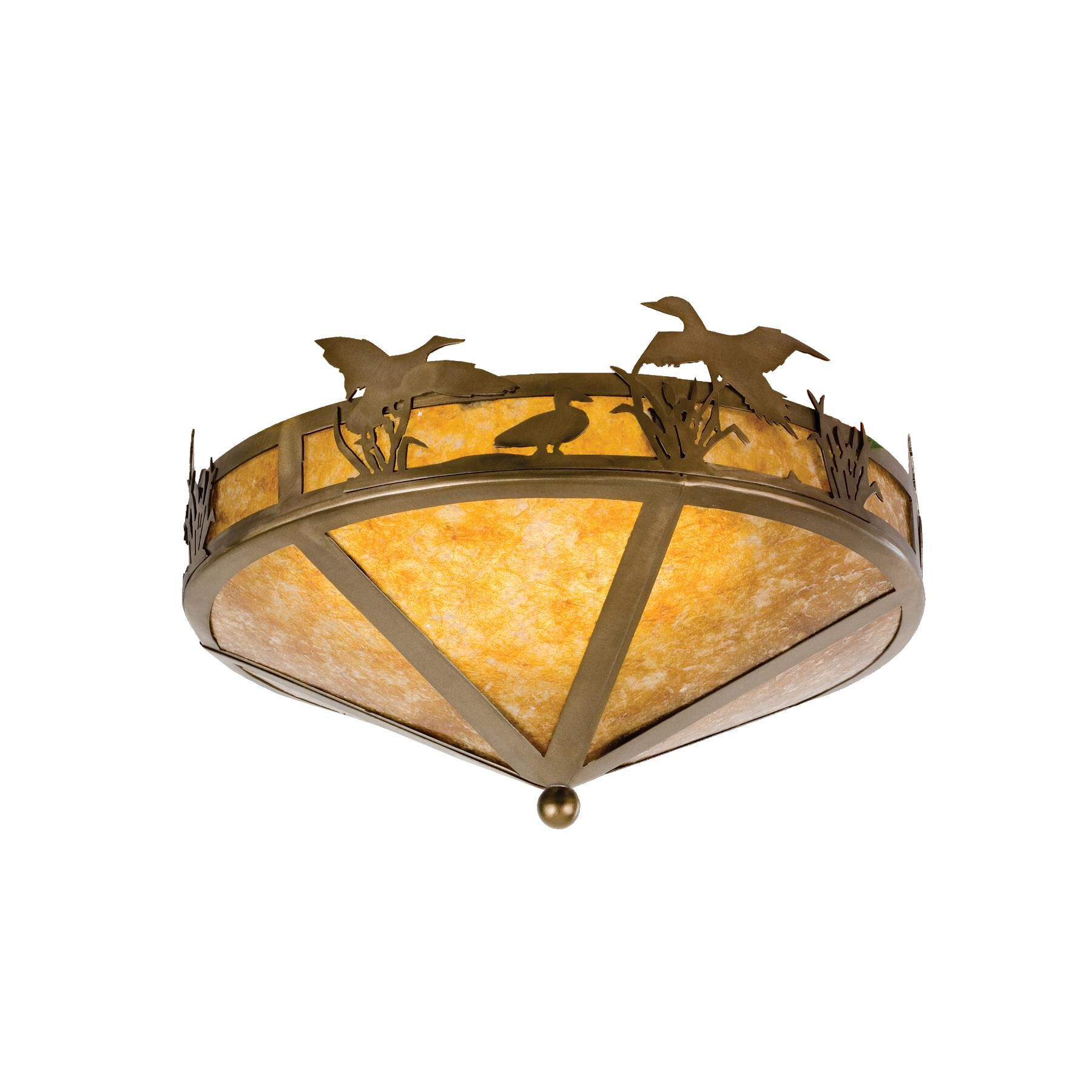 Meyda Lighting Ducks In Flight 16 Inch 2 Light Flush Mount Ducks In Flight - 26389 - Rustic