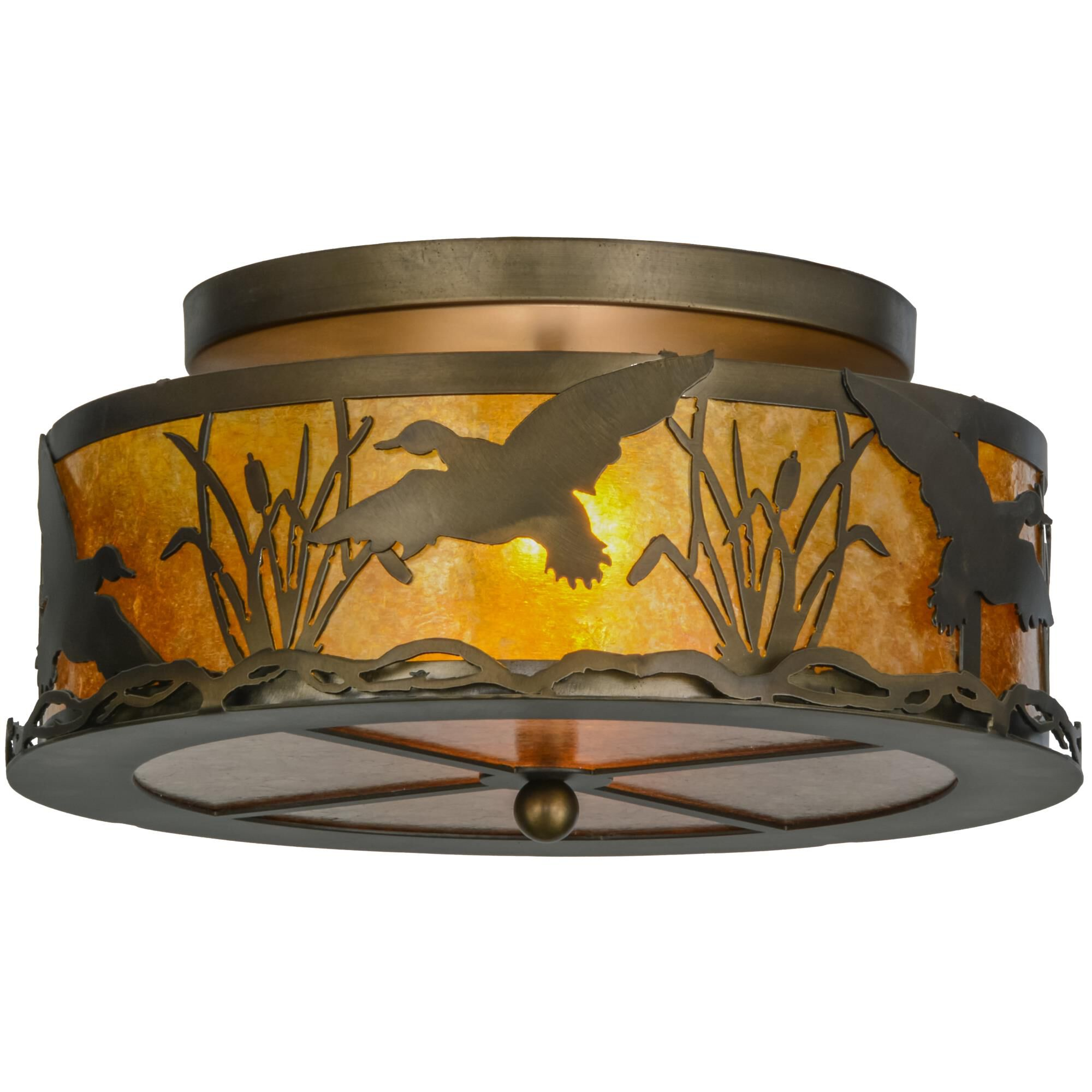 Meyda Lighting Ducks In Flight 16 Inch 2 Light Flush Mount Ducks In Flight - 51239 - Rustic