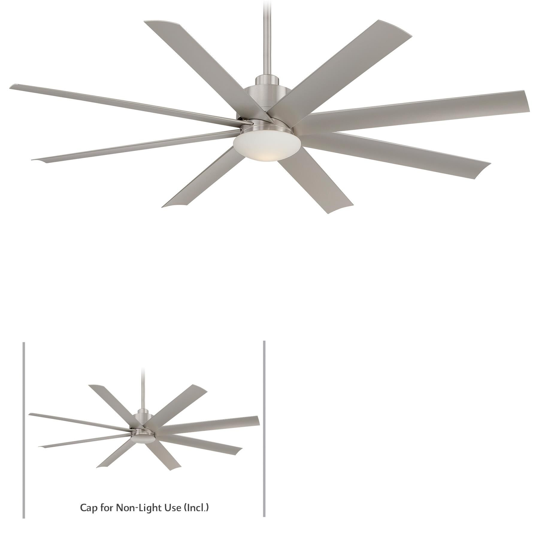 Designer Lights Room & Exterior Aire Slipstream Led Outdoor Rated 65 Inch Ceiling Fan with Light Kit Slipstream Led - F888L-BNW - Modern Contemporary Ceiling Fan
