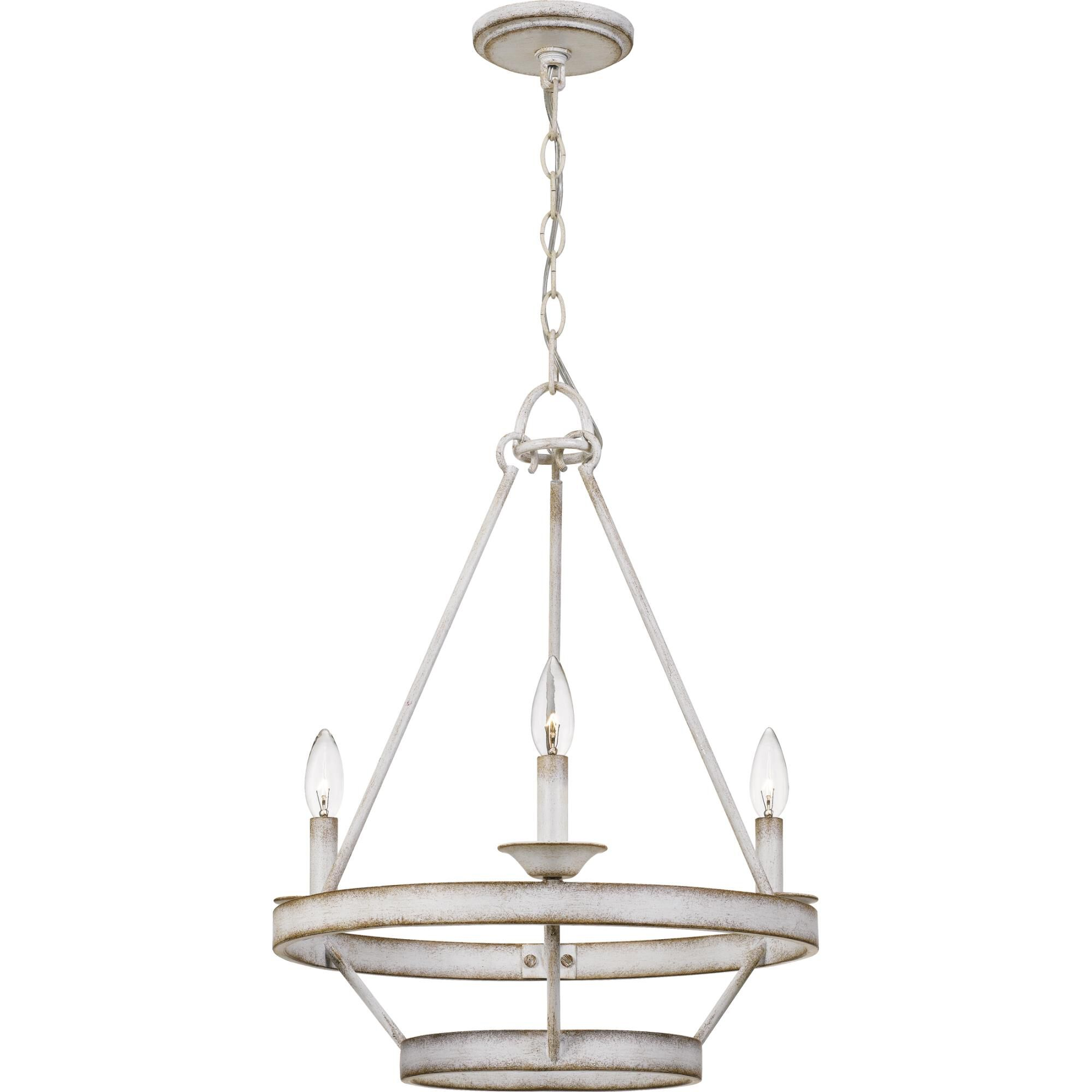Quoizel Corral 19 Inch 3 Light Mini Chandelier Corral - Crl5003awh - Transitional