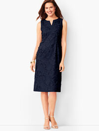 Talbots Embroidered Clipped-Floral Shift Dress (Indigo Blue)