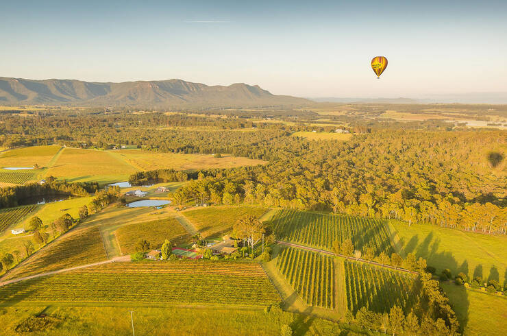 Hot air balloon over the Hunter Valley