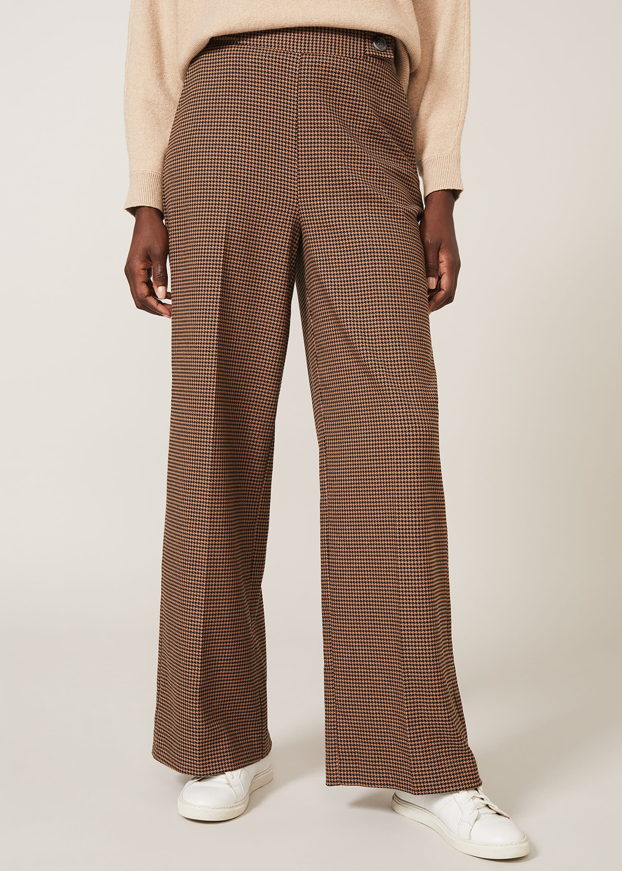 Phase Eight Women's Vye Dogtooth Wide Leg Trouser, Black, Wide