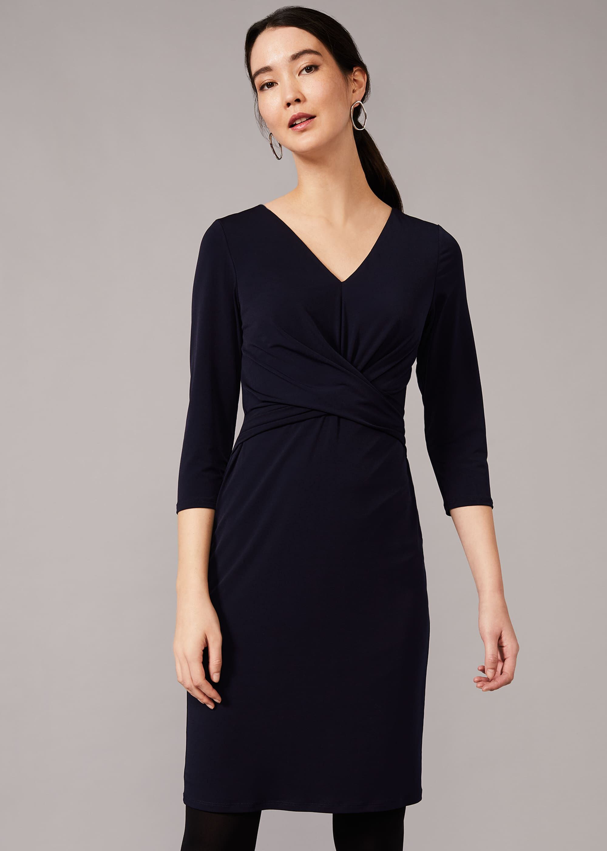 Phase Eight Selima Twist Front Dress, Blue, Fitted
