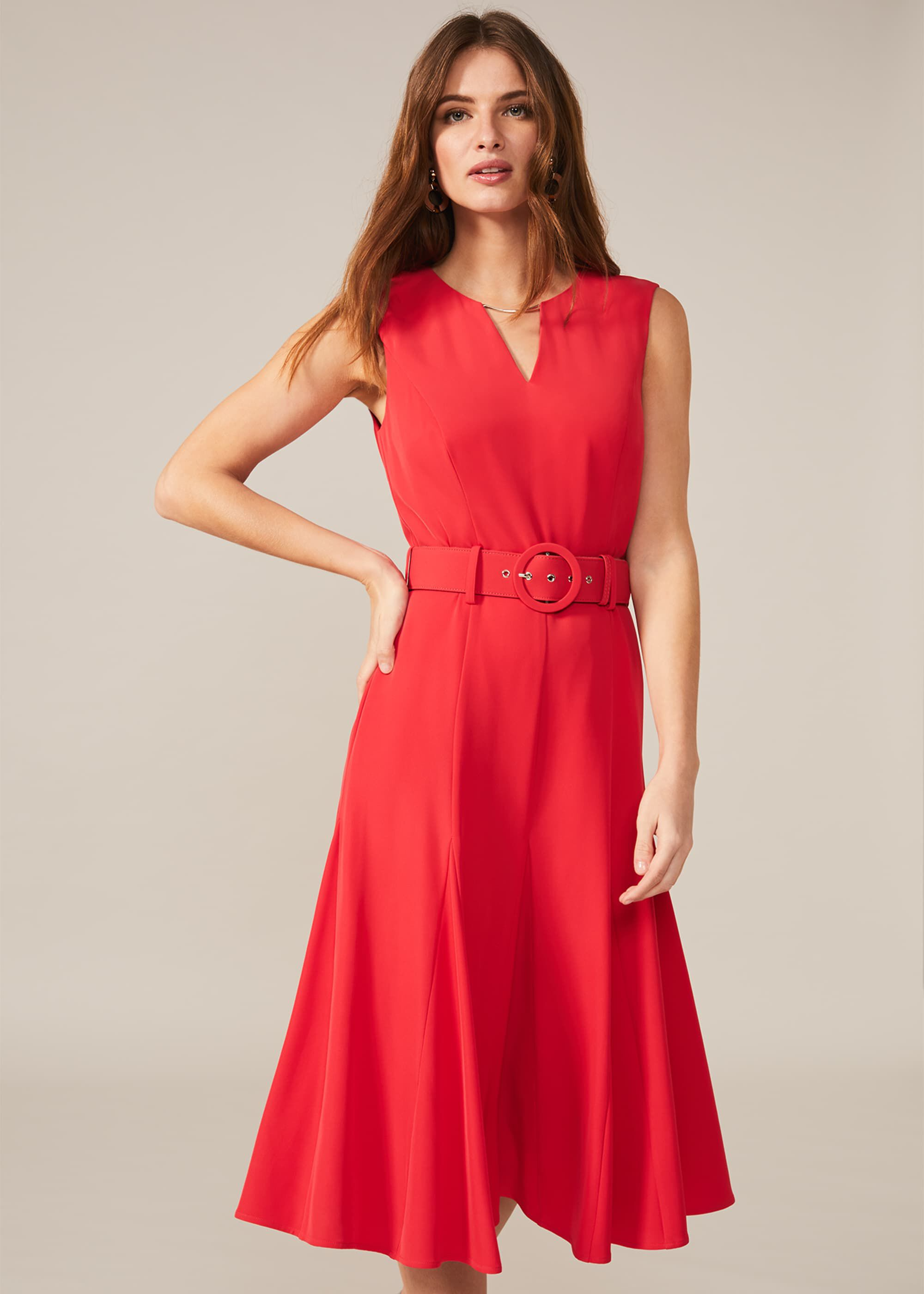 Phase Eight Jayne Belted Panelled Dress, Pink, Fit & Flare, Occasion Dress