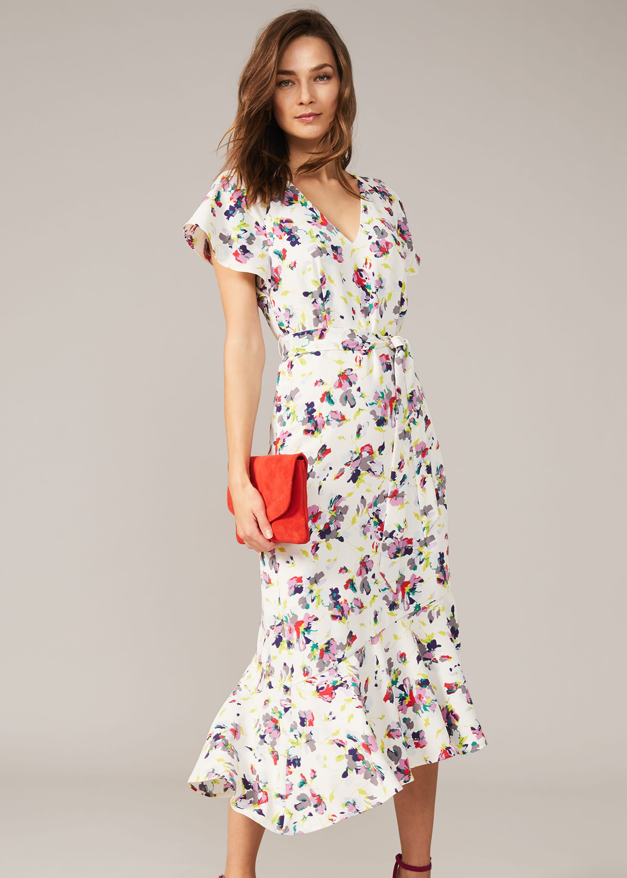 Phase Eight Lorel Floral Asymmetric Hem Dress, Cream, Asymmetric, Occasion Dress
