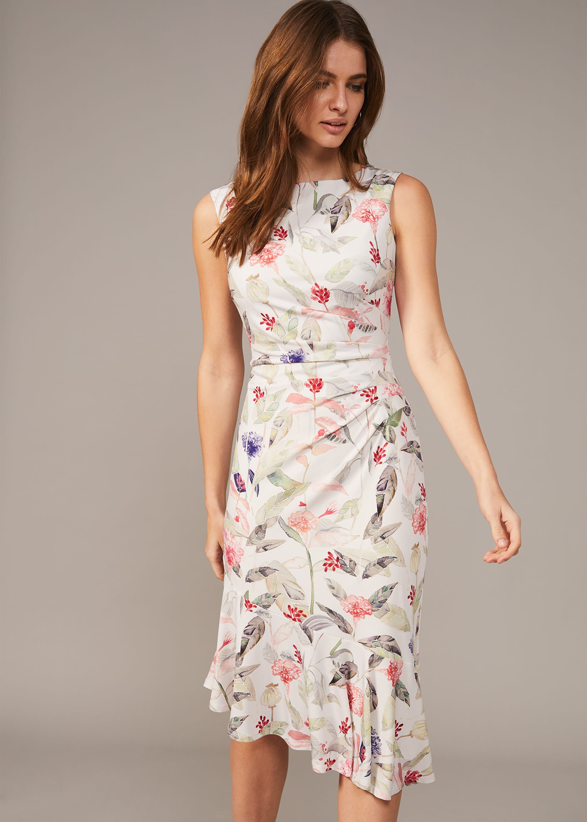 Phase Eight Dulcie Floral Jersey Dress, Multicoloured, Fitted, Occasion Dress
