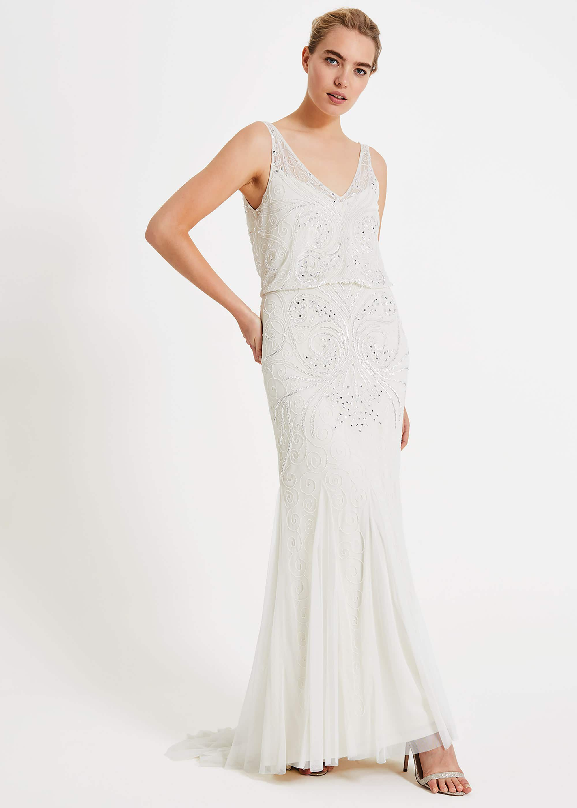 1920s Wedding Dresses- Art Deco Wedding Dress, Gatsby Wedding Dress Phase Eight Cathlyn Wedding Dress Cream Wedding £370.00 AT vintagedancer.com