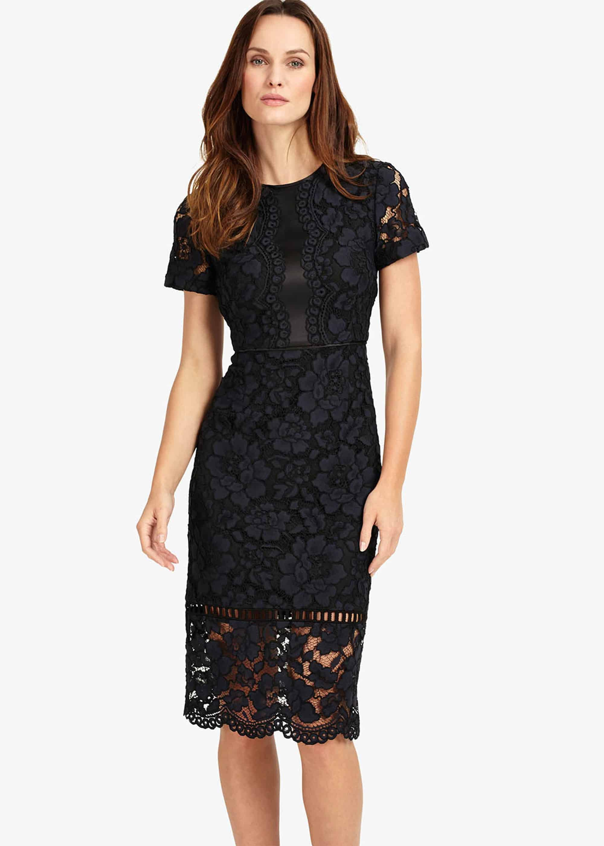 Phase Eight Darena Lace Dress, Blue, Shift