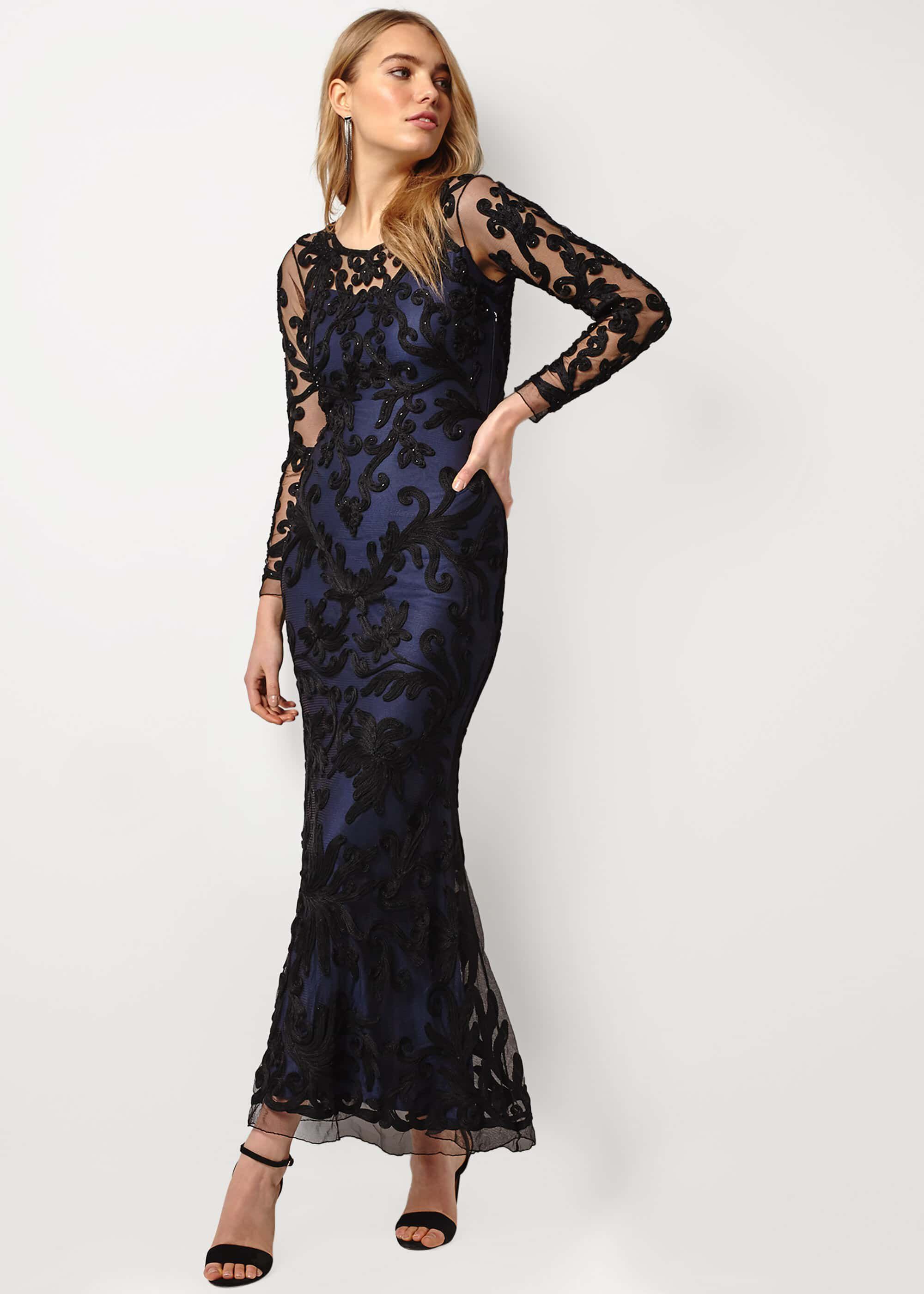 Phase Eight Aubree Tapework Lace Maxi Dress, Black, Maxi
