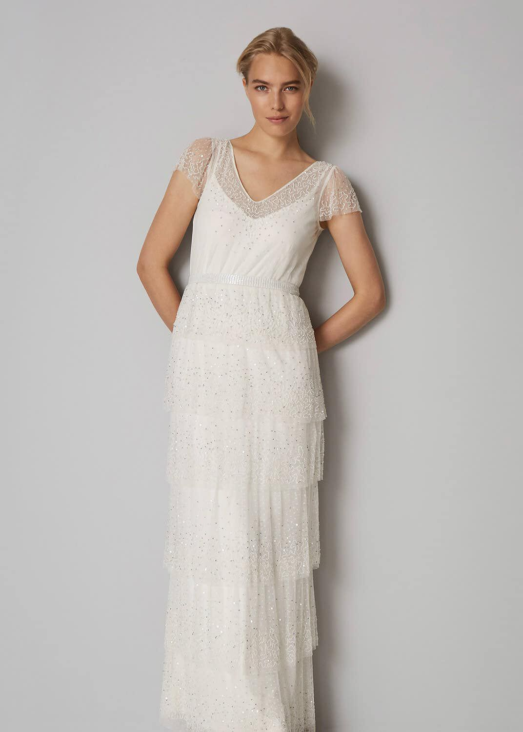 1920s Wedding Dresses- Art Deco Wedding Dress, Gatsby Wedding Dress Phase Eight Nyelle Layered Wedding Dress Cream Maxi £195.00 AT vintagedancer.com