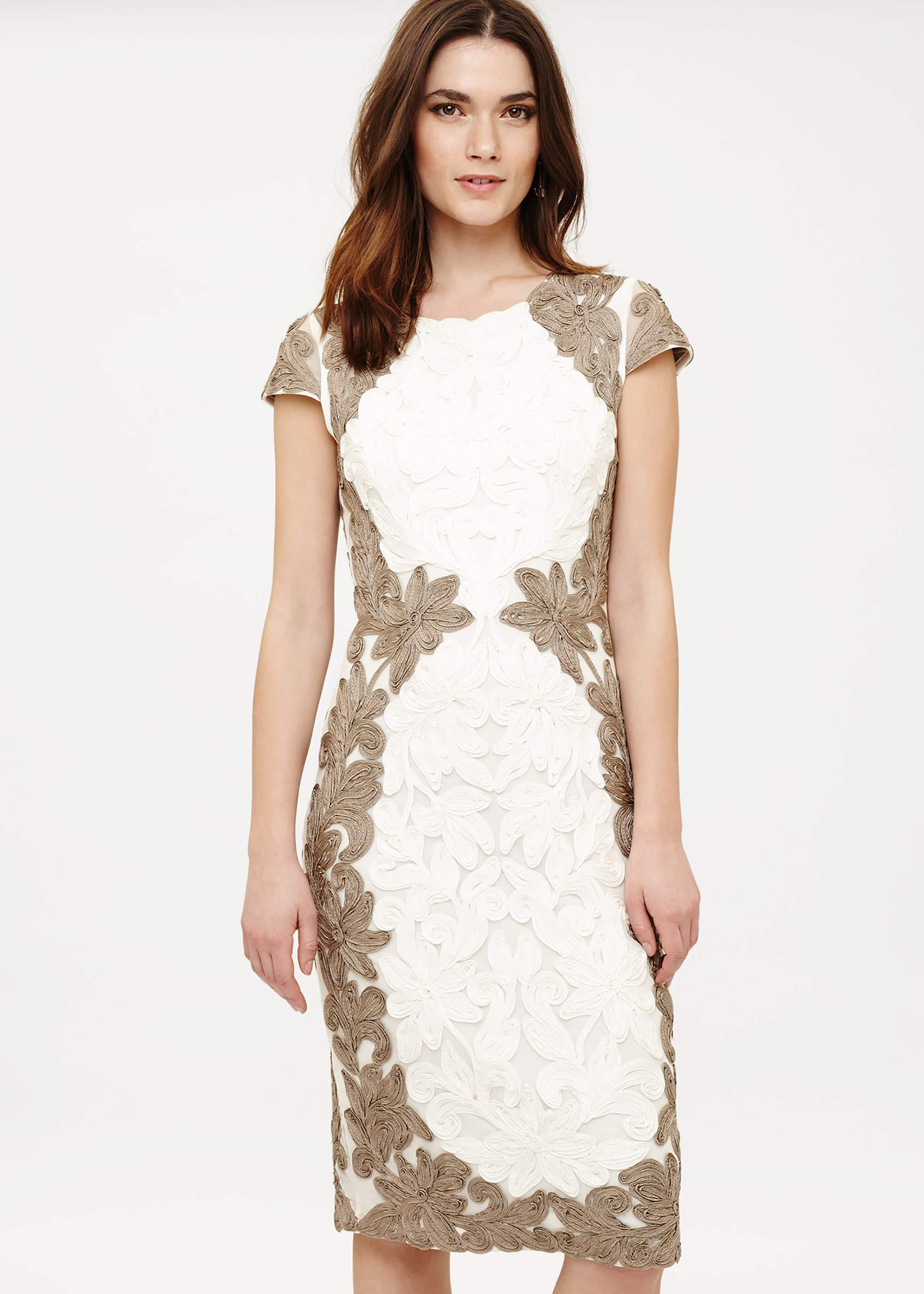 Phase Eight Cornelia Tapework Dress, Neutral, Fitted