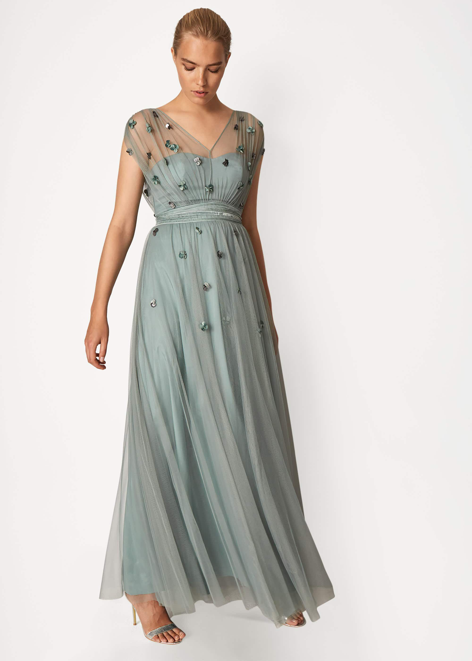 Phase Eight Yazmina Tulle Maxi Dress, Green, Maxi