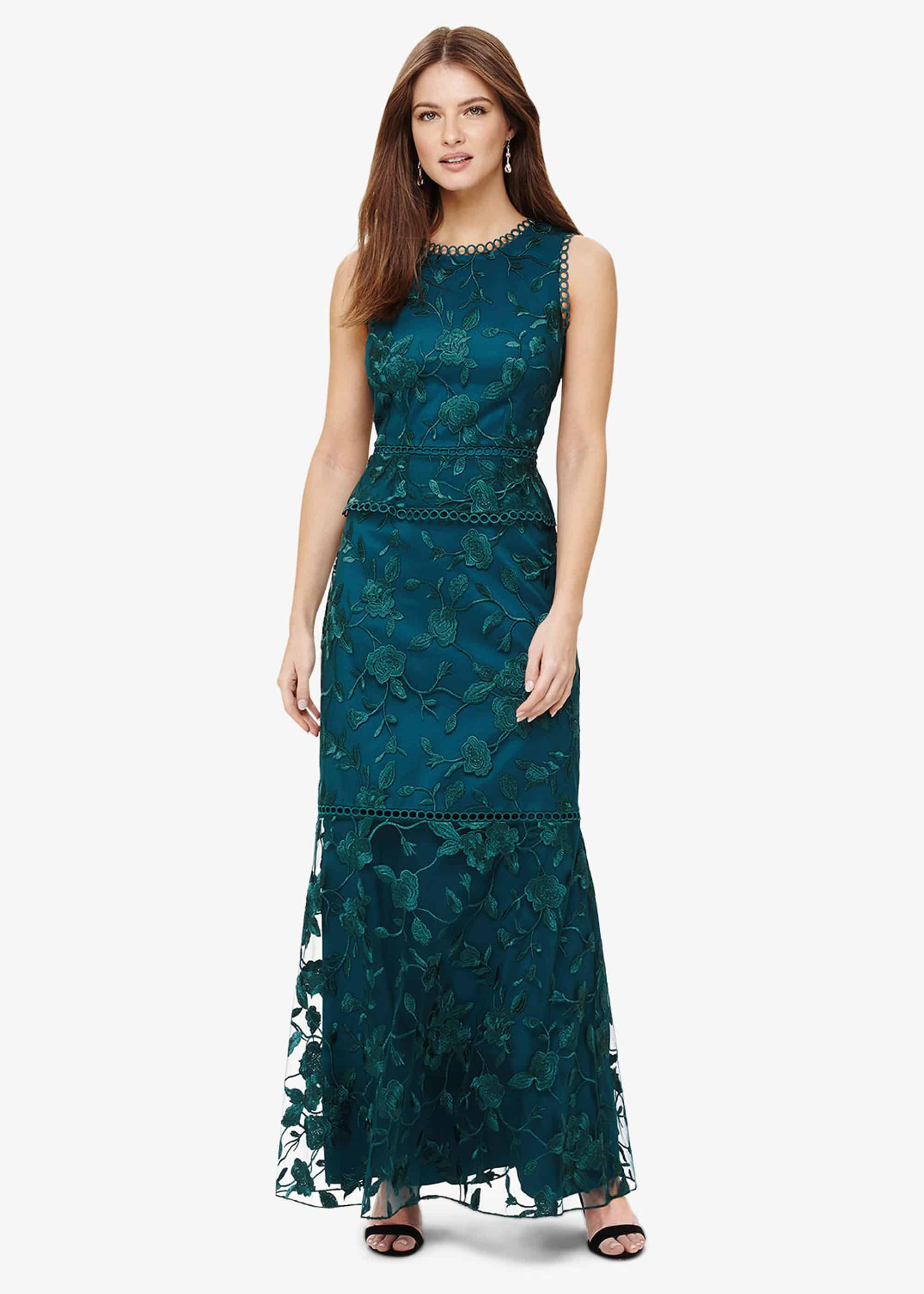 Phase Eight Rosetta Embroidered Maxi Dress, Blue, Maxi