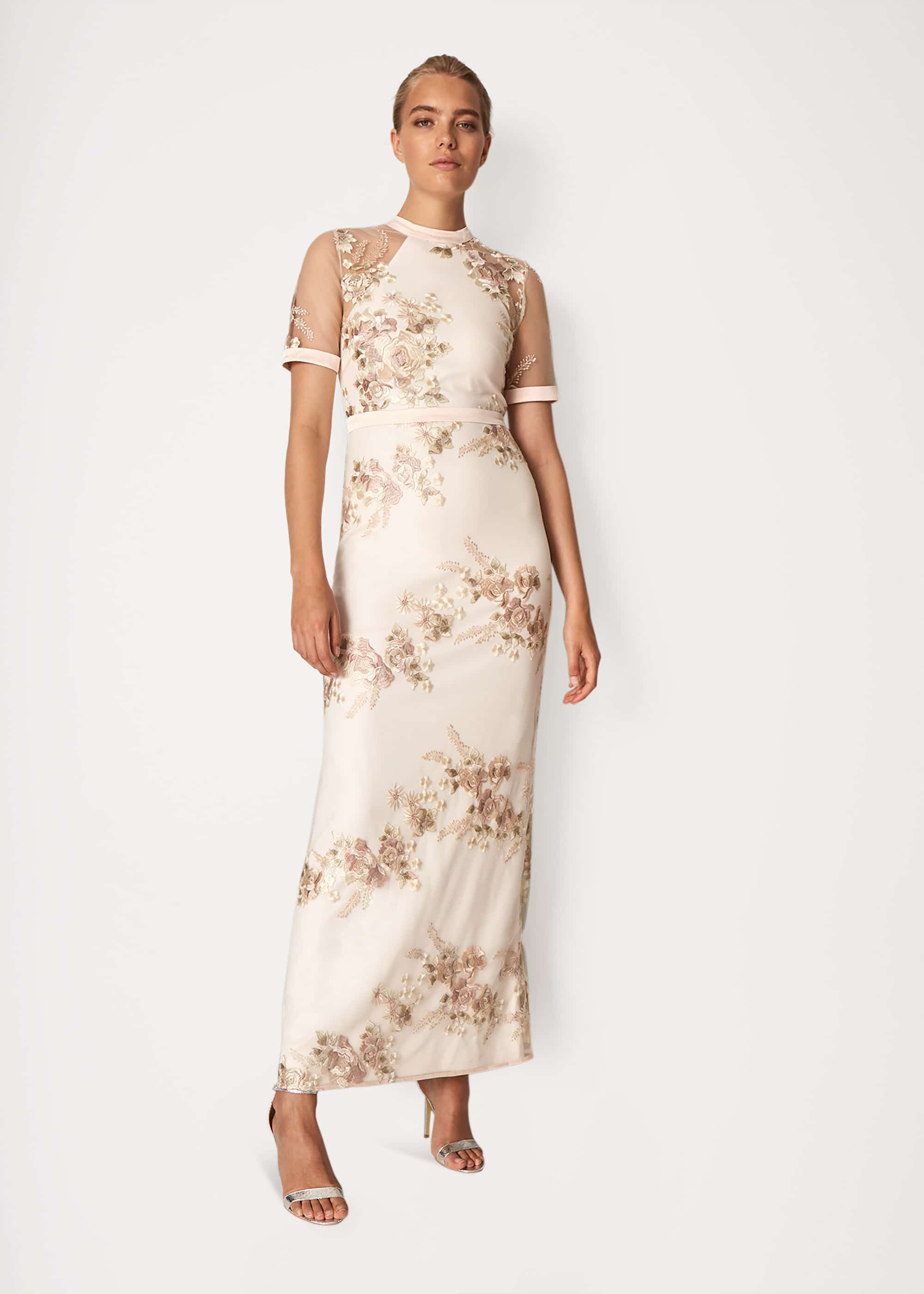 Phase Eight Yasmin Embroidered Maxi Dress, Pink, Maxi