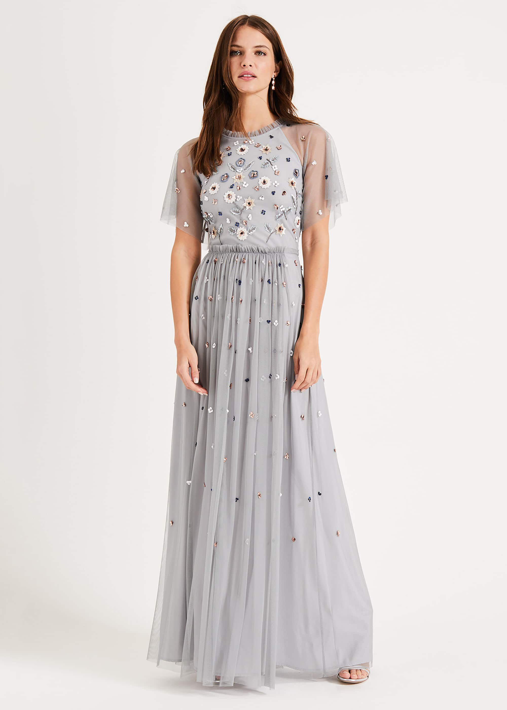 Phase Eight Celestra Embellished Maxi Dress, Blue, Maxi