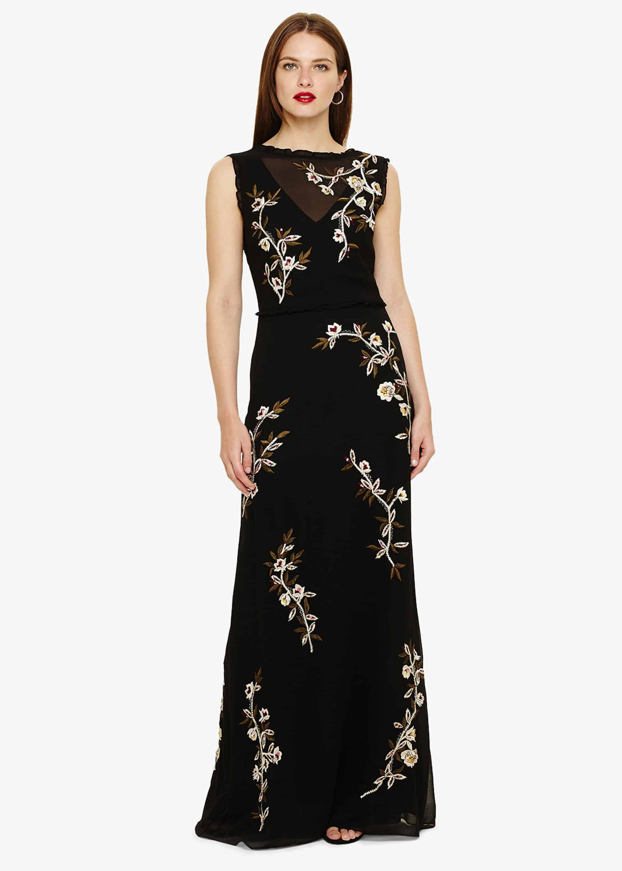 Phase Eight Abigail Floral Maxi Dress, Black, Maxi