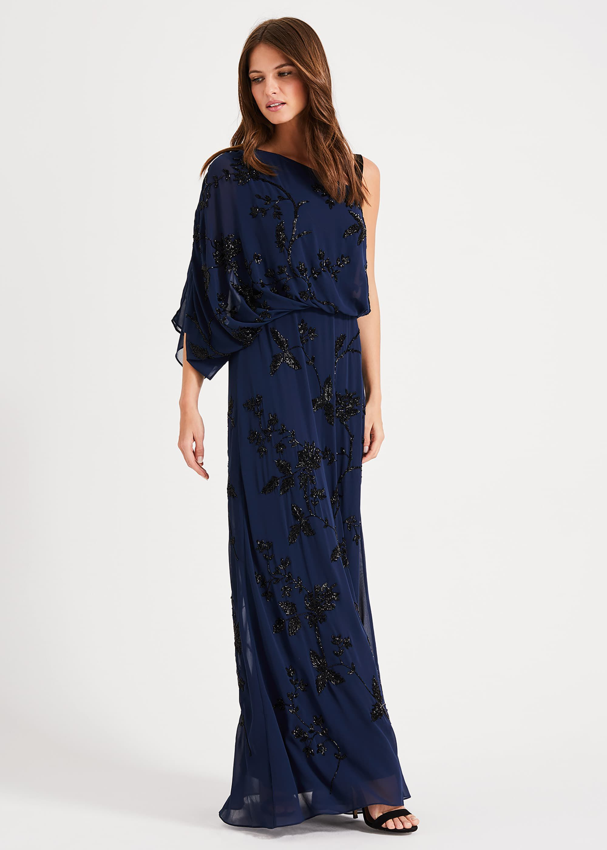Phase Eight Shirley Embellished Maxi Dress, Blue, Maxi