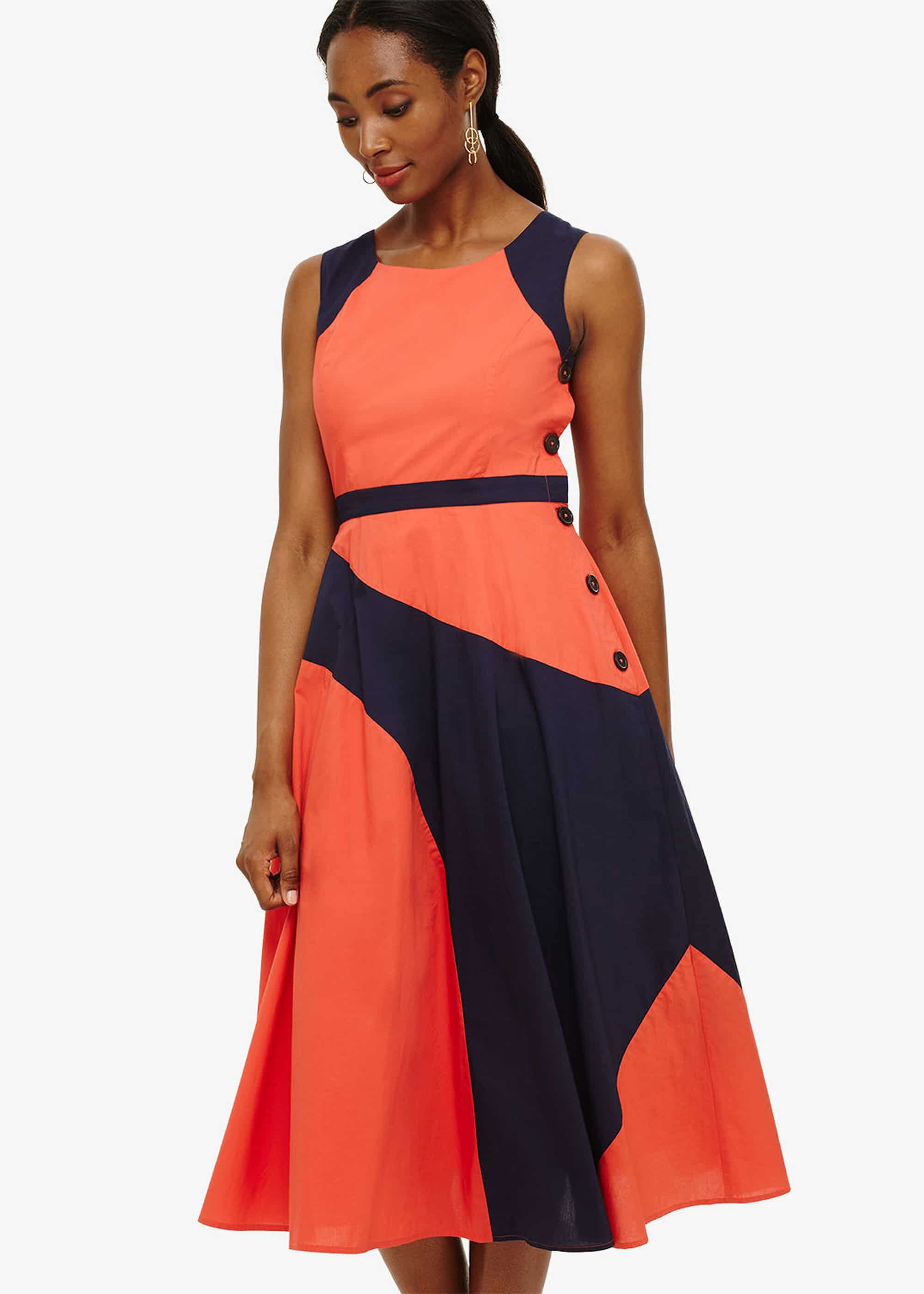Phase Eight Chelle Colour Block Dress, Orange, Fit & Flare