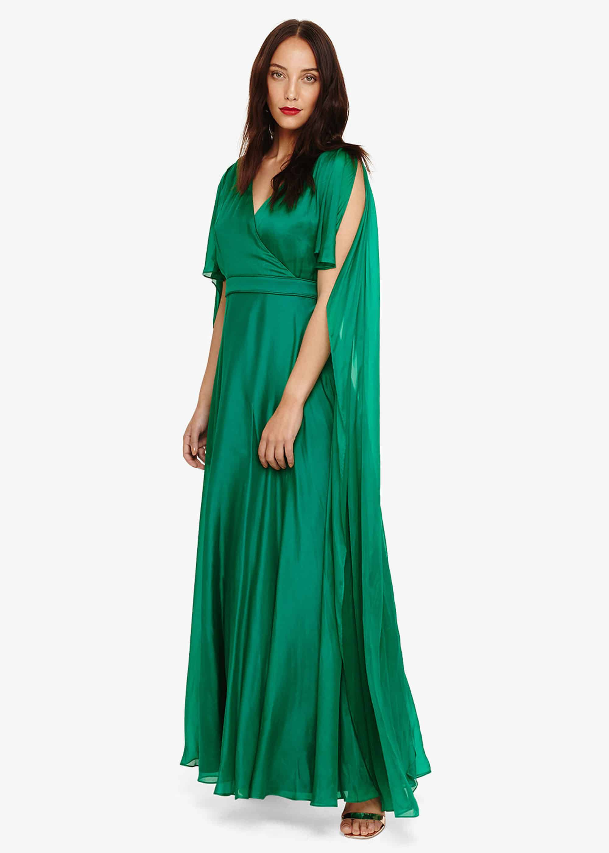 Phase Eight Arwen Silk Drape Dress, Green, Maxi
