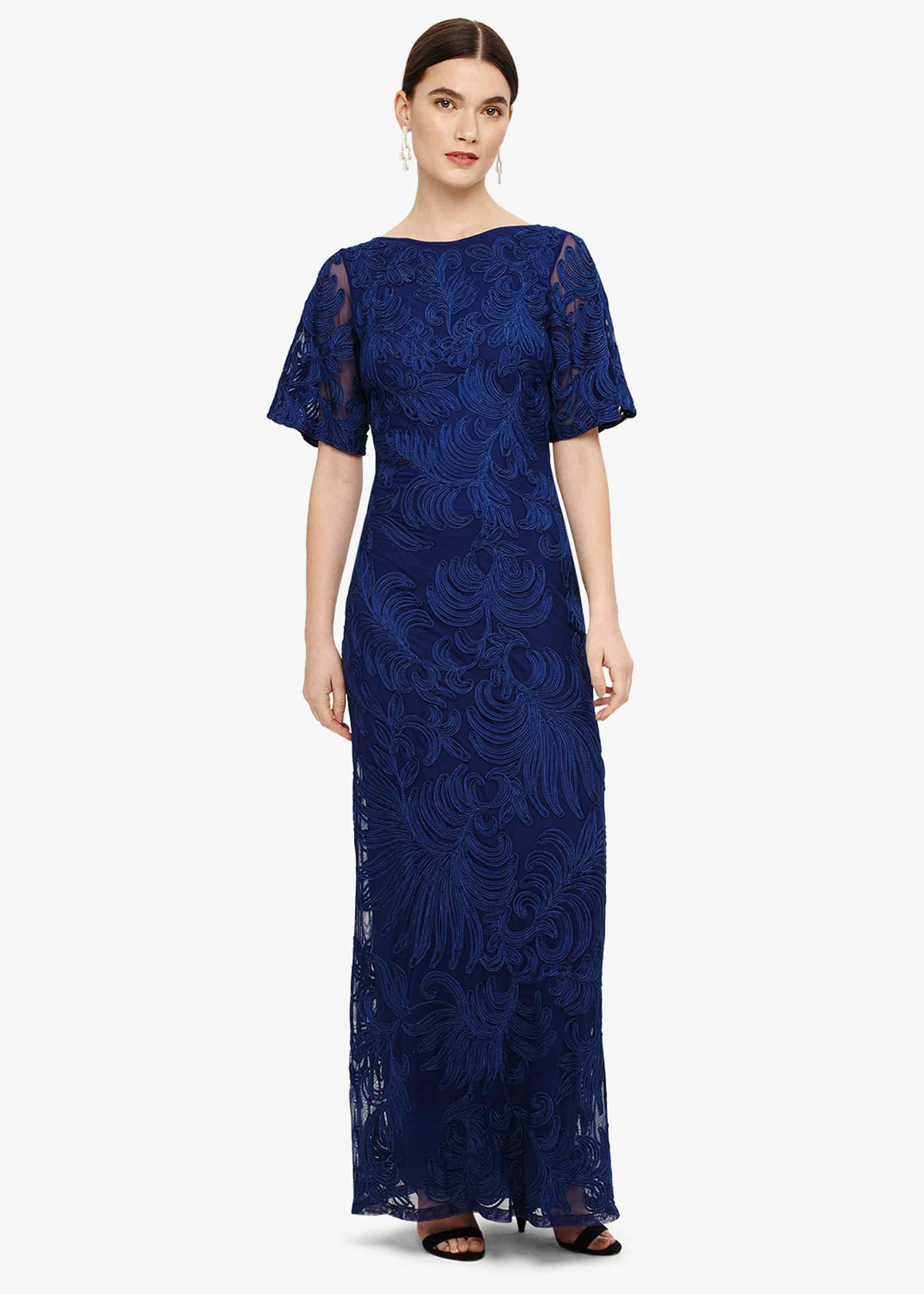 Phase Eight Cecily Tapework Maxi Dress, Blue, Maxi