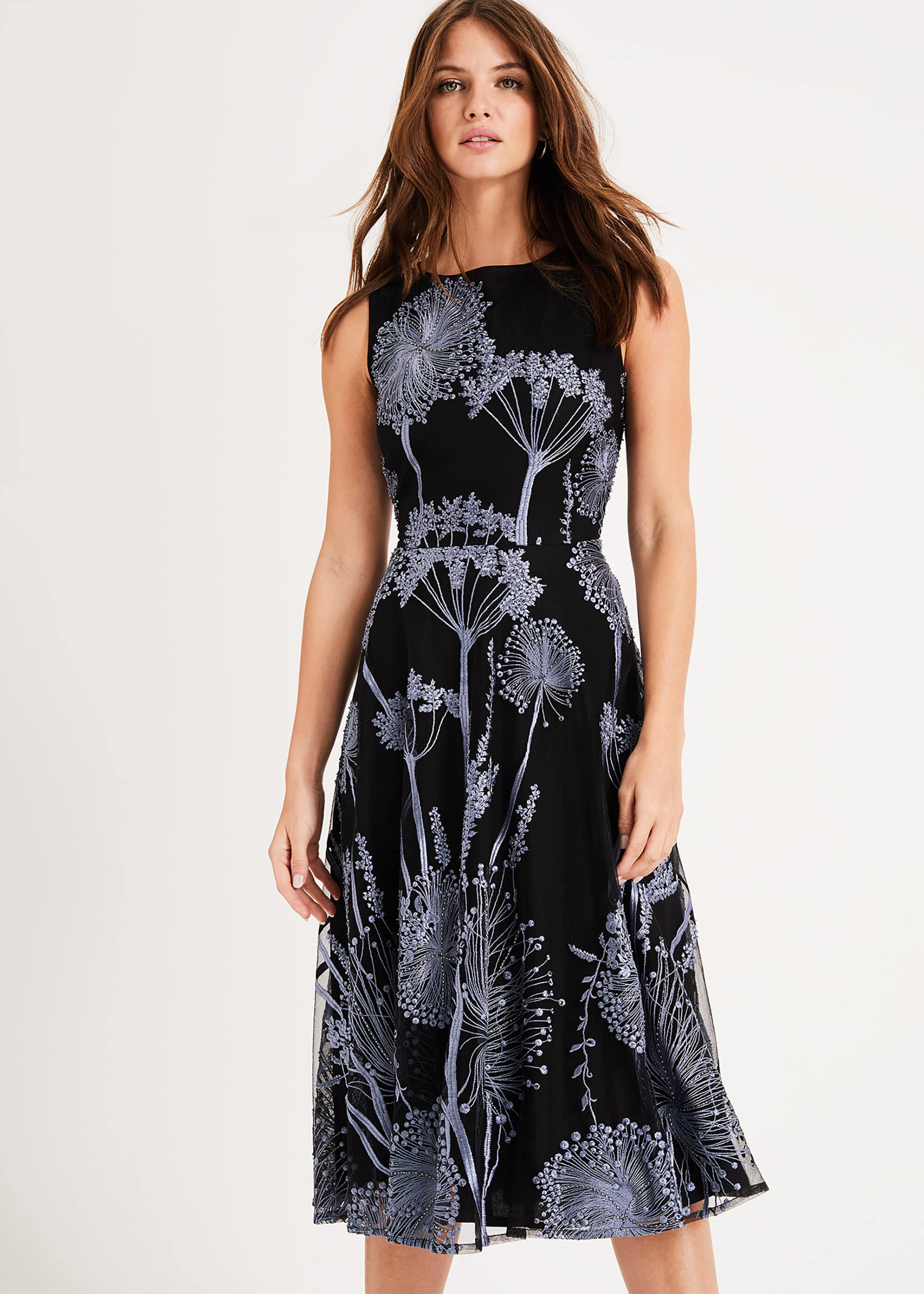 Phase Eight Franchesca Floral Dress, Black, Fit & Flare