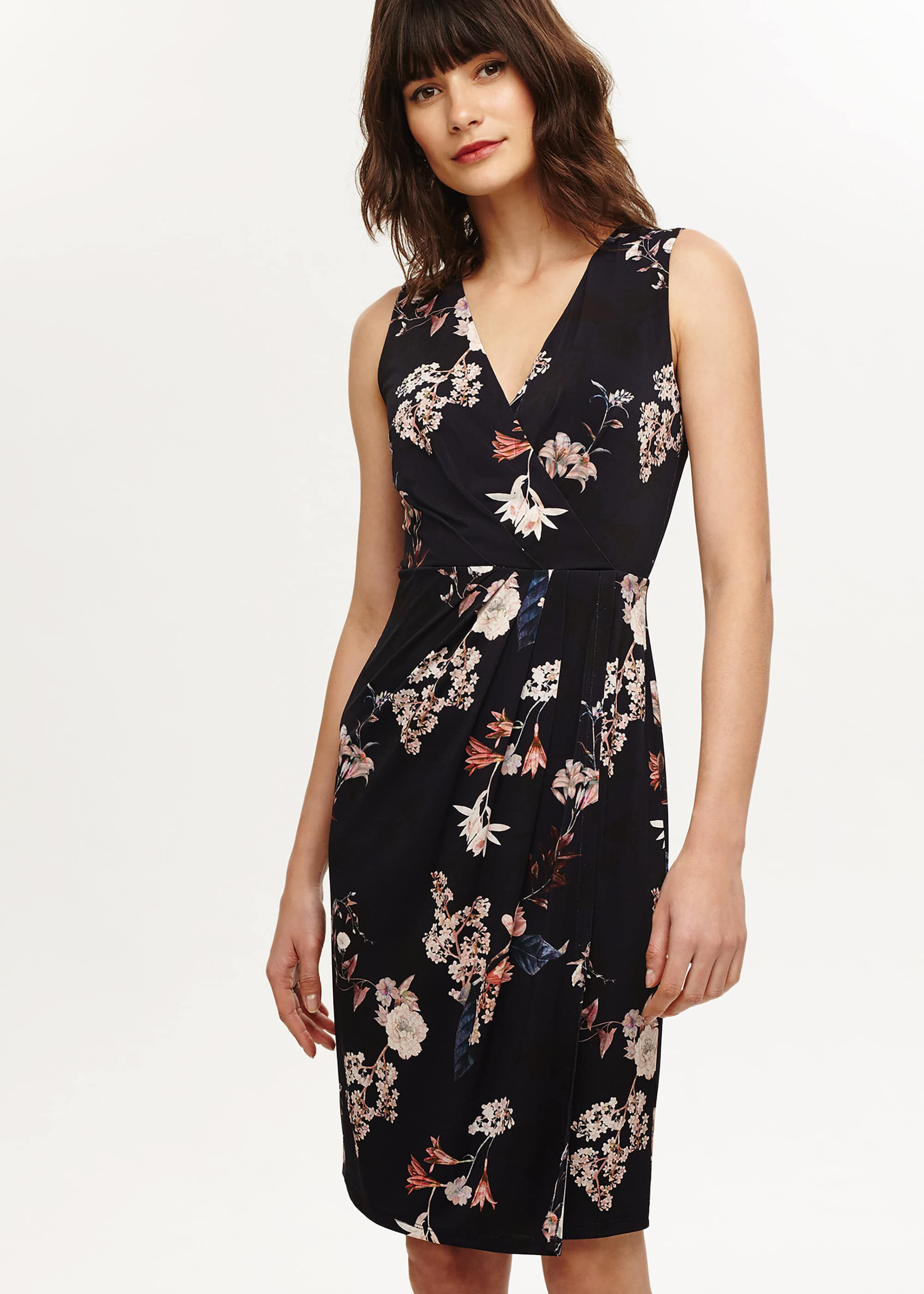 Phase Eight Fiona Floral Jersey Dress, Blue, Fitted