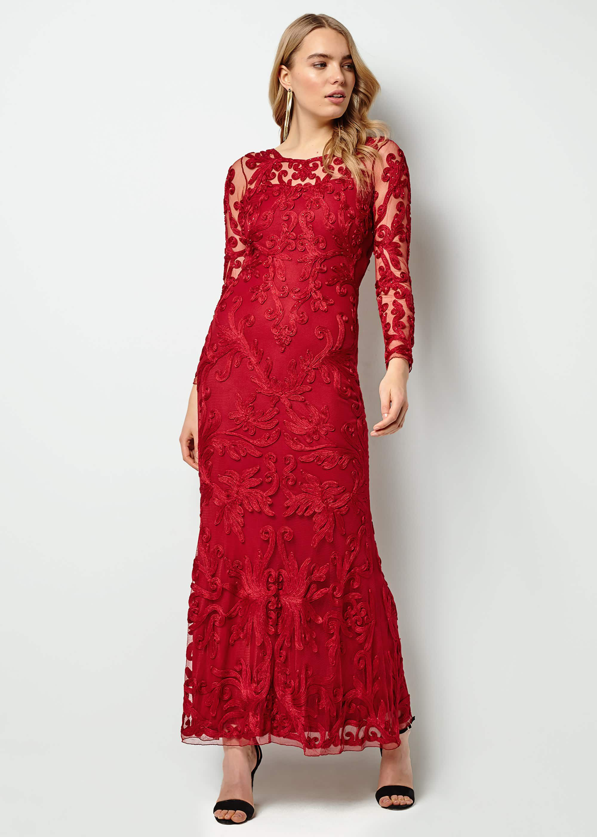 Phase Eight Aubree Tapework Lace Maxi Dress, Red, Maxi