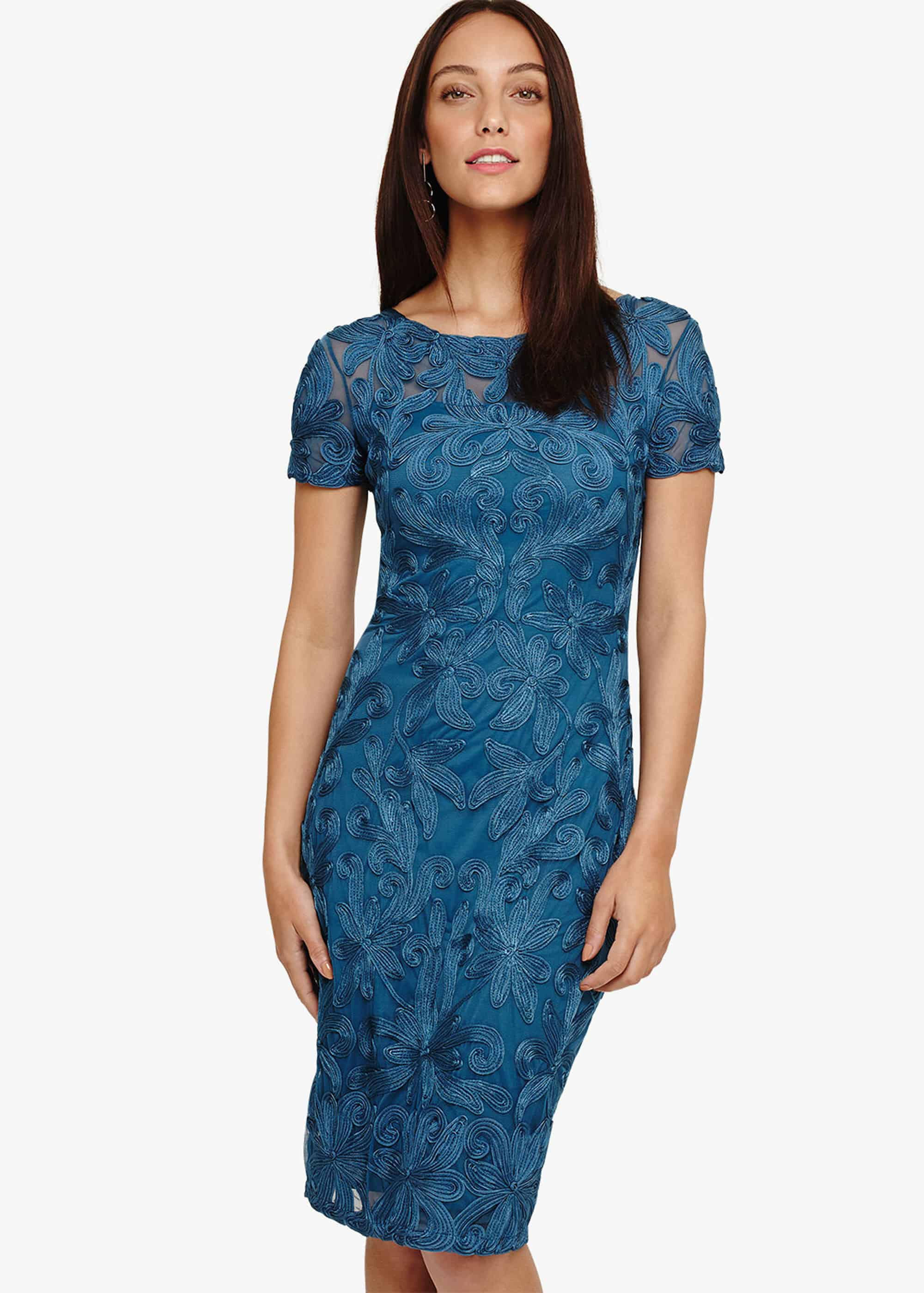 Phase Eight Indra Tapework Lace Dress, Blue, Shift