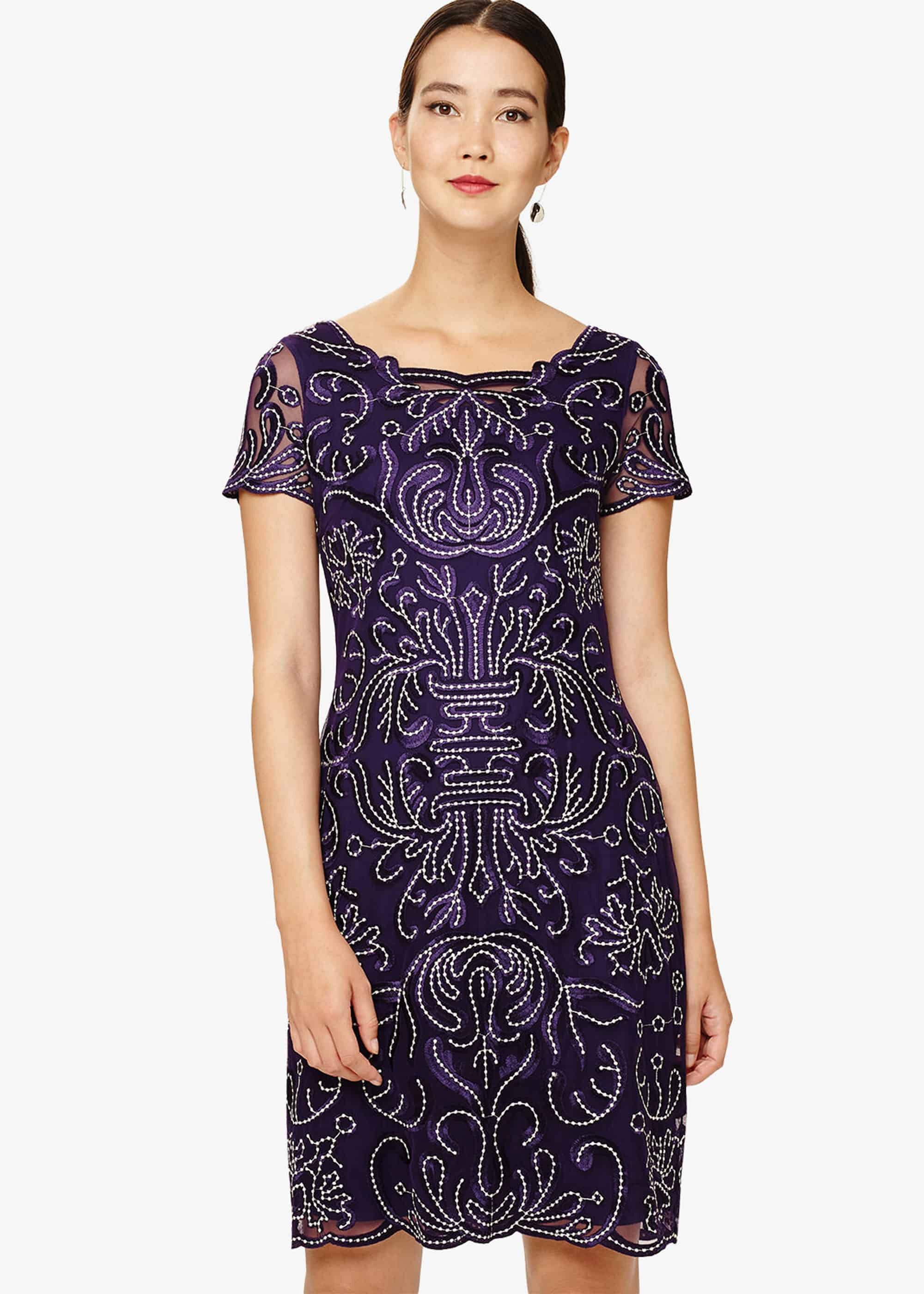 Phase Eight Talia Embroidered Dress, Purple, Shift