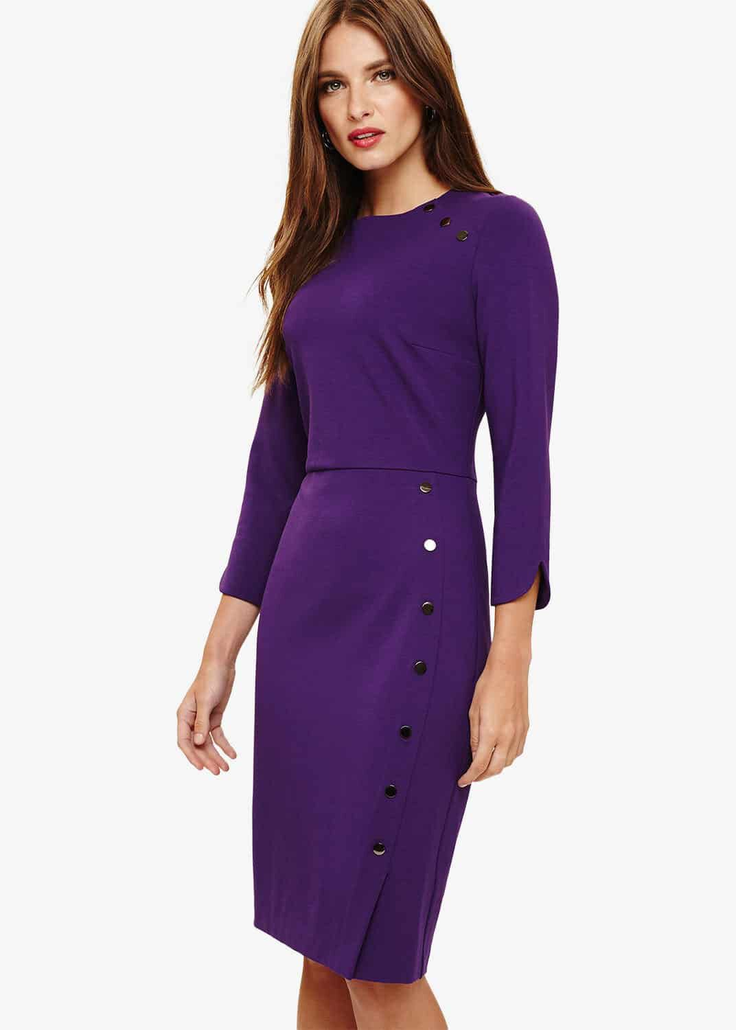 Phase Eight Leanna Dress, Purple, Fitted