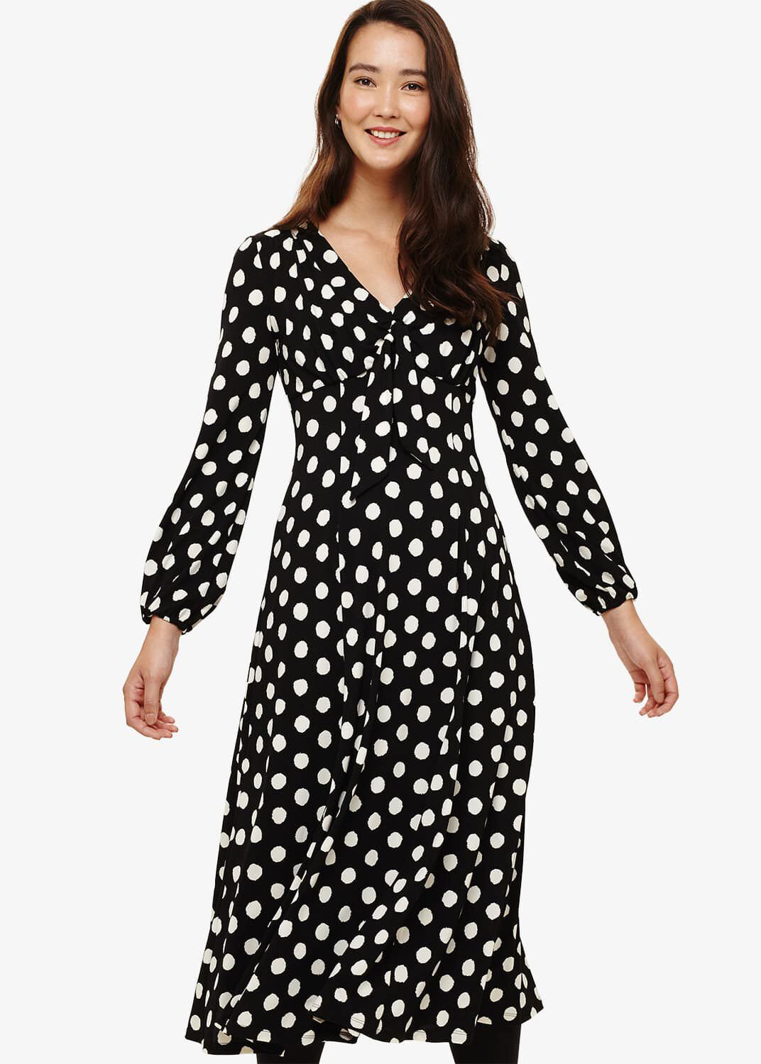 Phase Eight Siana Spot Midi Dress, Black, Fit & Flare