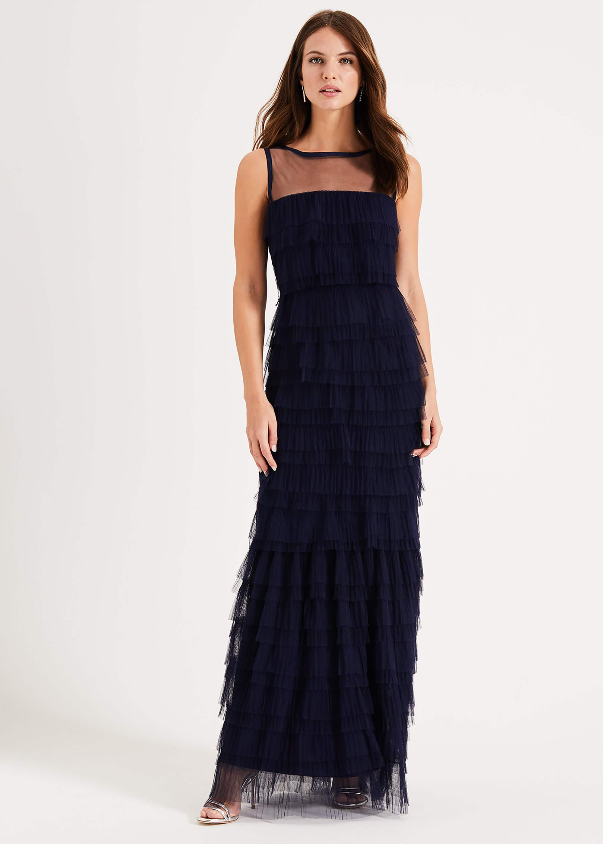 Phase Eight Fleur Tiered Tulle Maxi Dress, Blue, Maxi