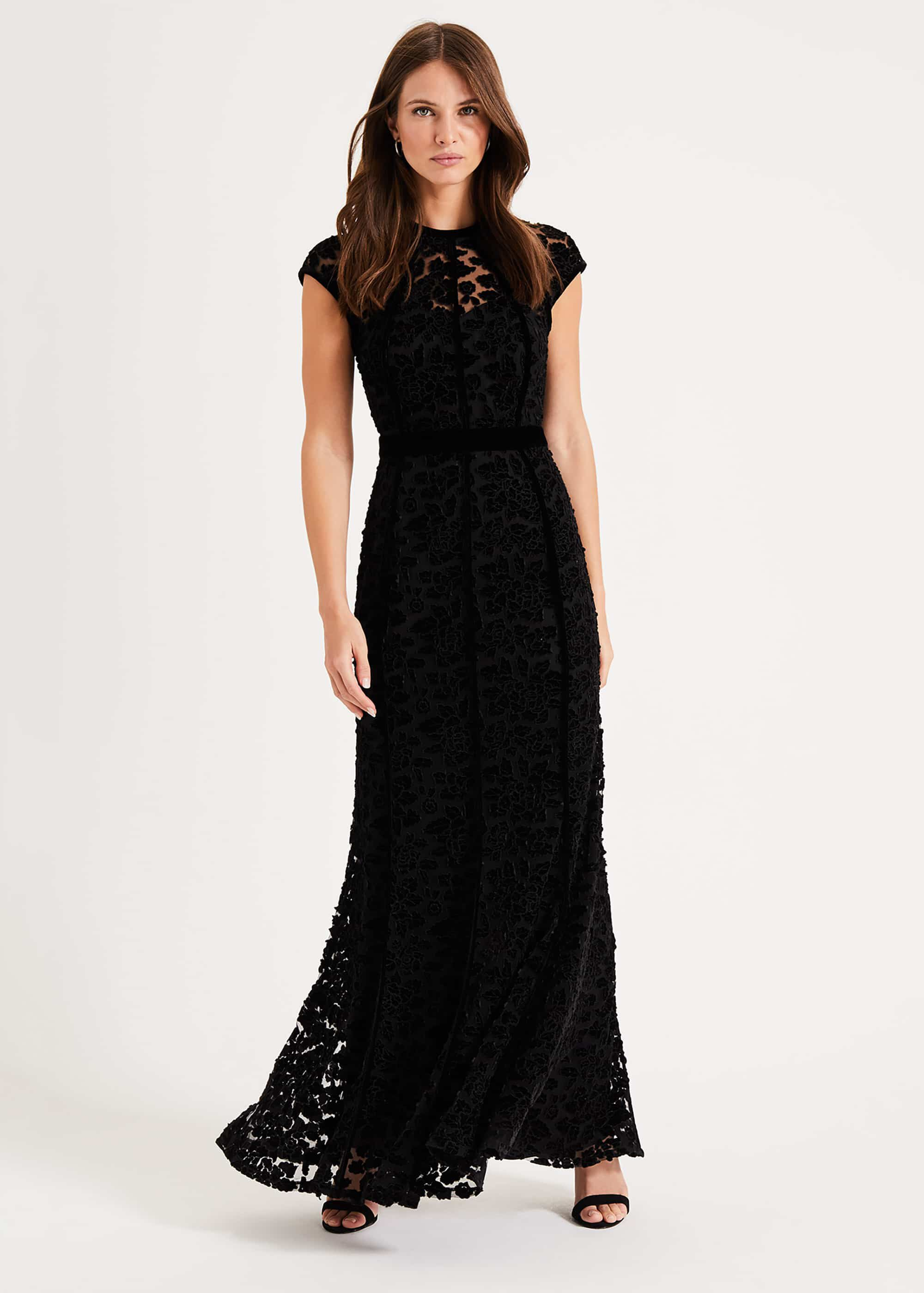 Phase Eight Cleo Velvet Maxi Dress, Black, Maxi