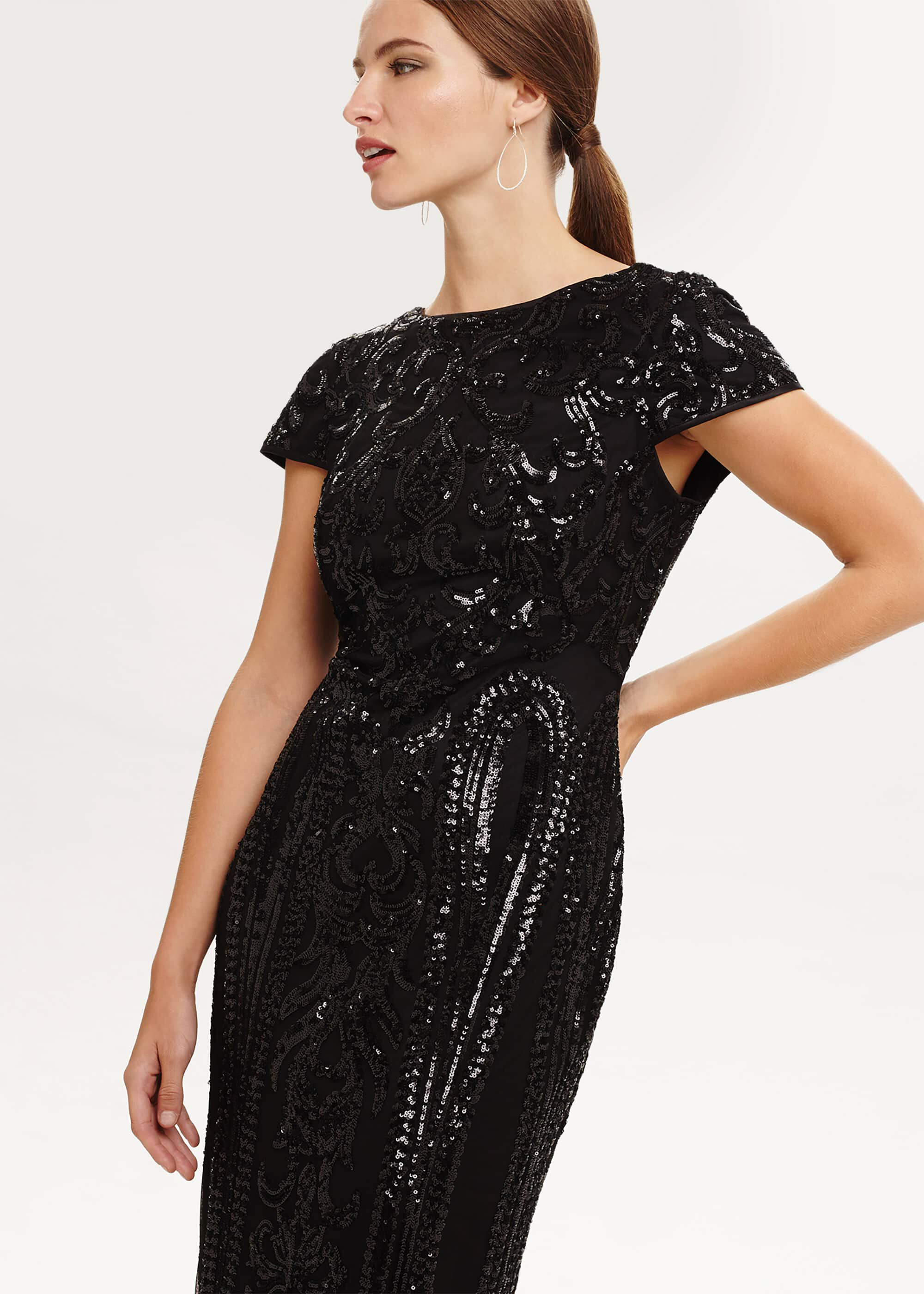 Phase Eight Malory Sequined Midi Dress, Black, Fitted