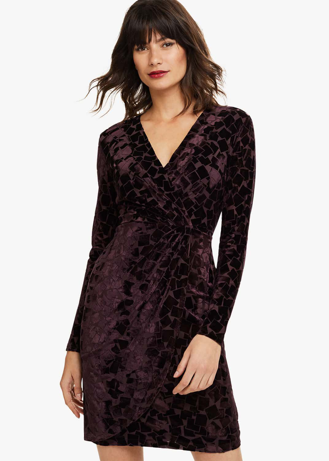 Phase Eight Stella Velvet Wrap Dress, Purple, Fitted