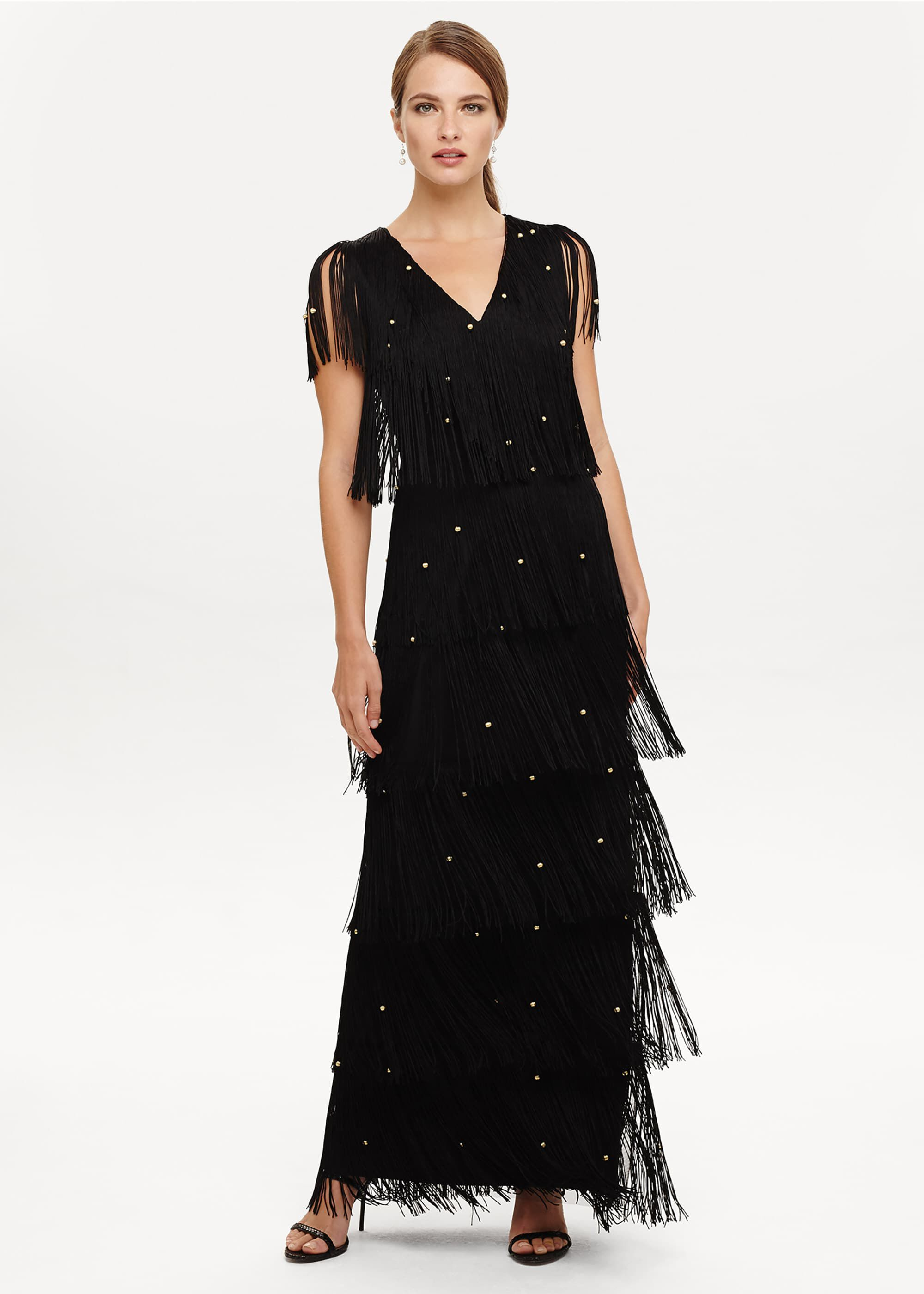 Phase Eight Kandice Fringe Dress, Black, Maxi, Occasion Dress
