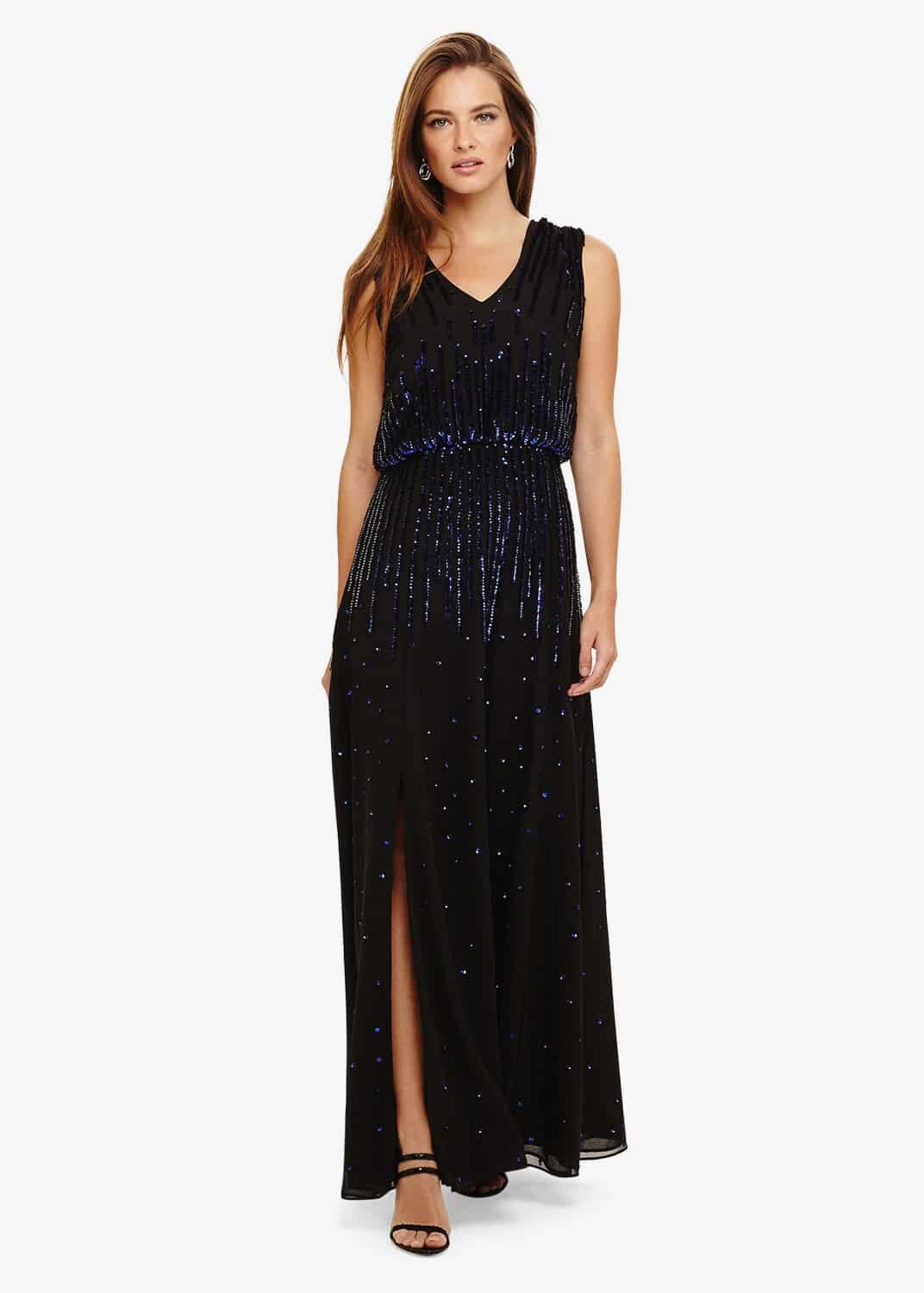 Phase Eight Mia Placement Sequin Dress, Black, Maxi
