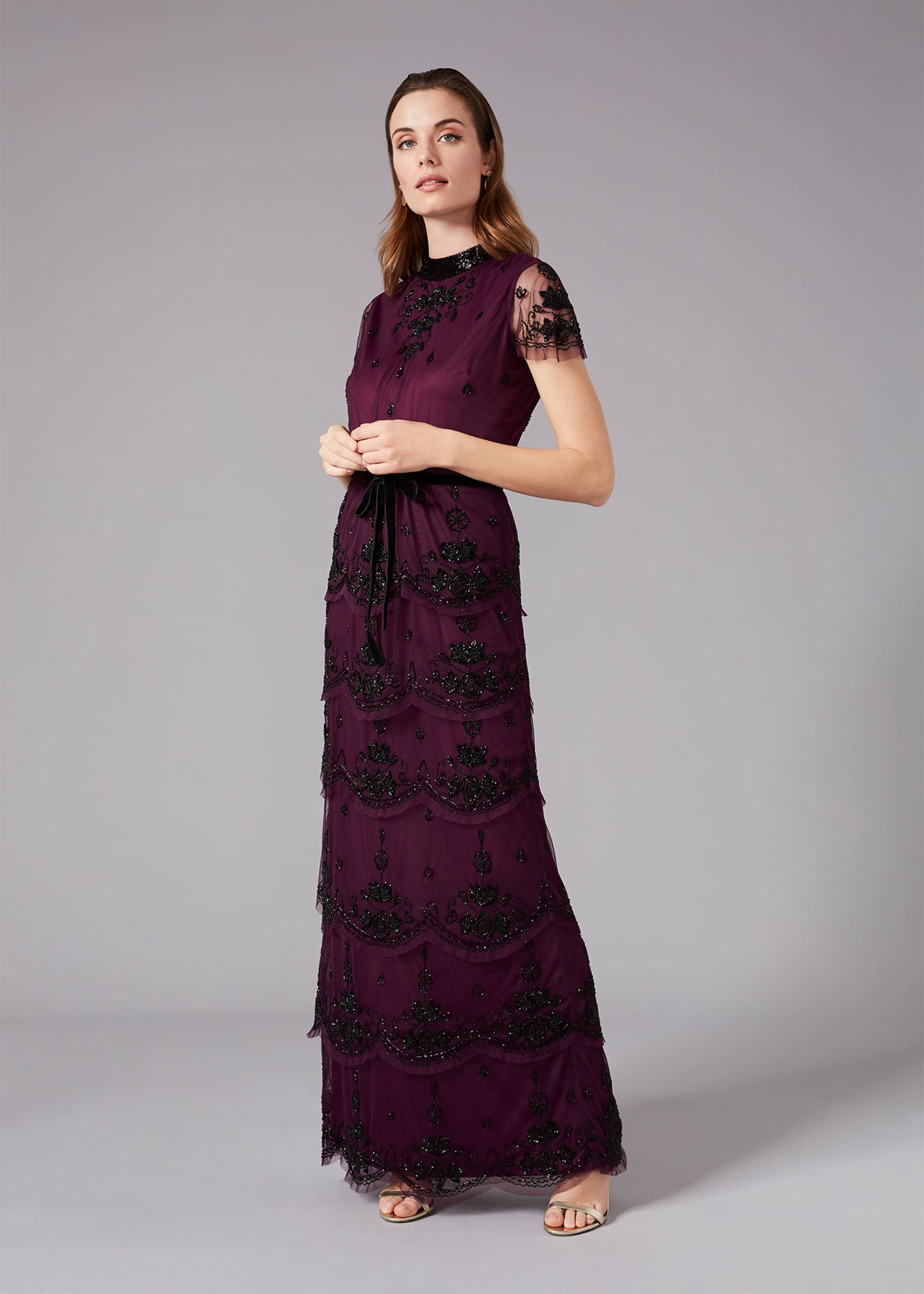 Phase Eight Roberta Layered Maxi Dress, Purple, Maxi, Occasion Dress