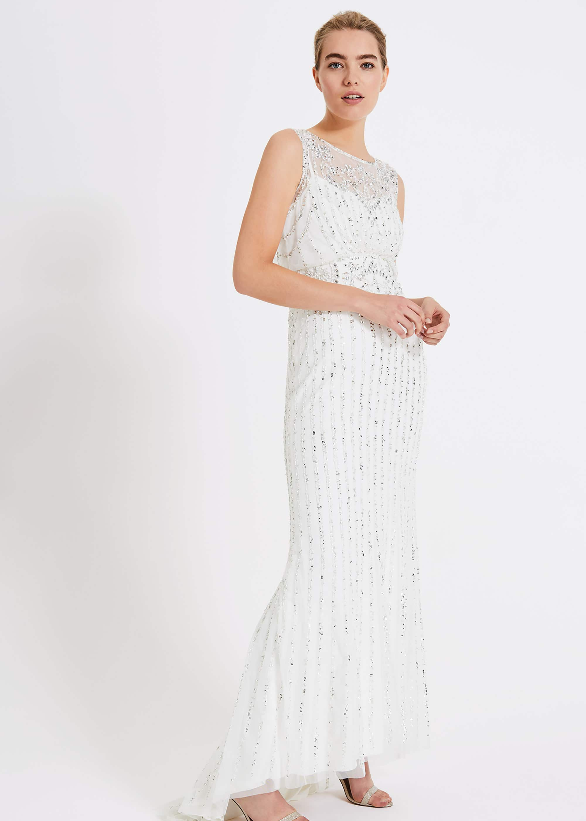 Phase Eight Milly Beaded Wedding Dress, White, Wedding