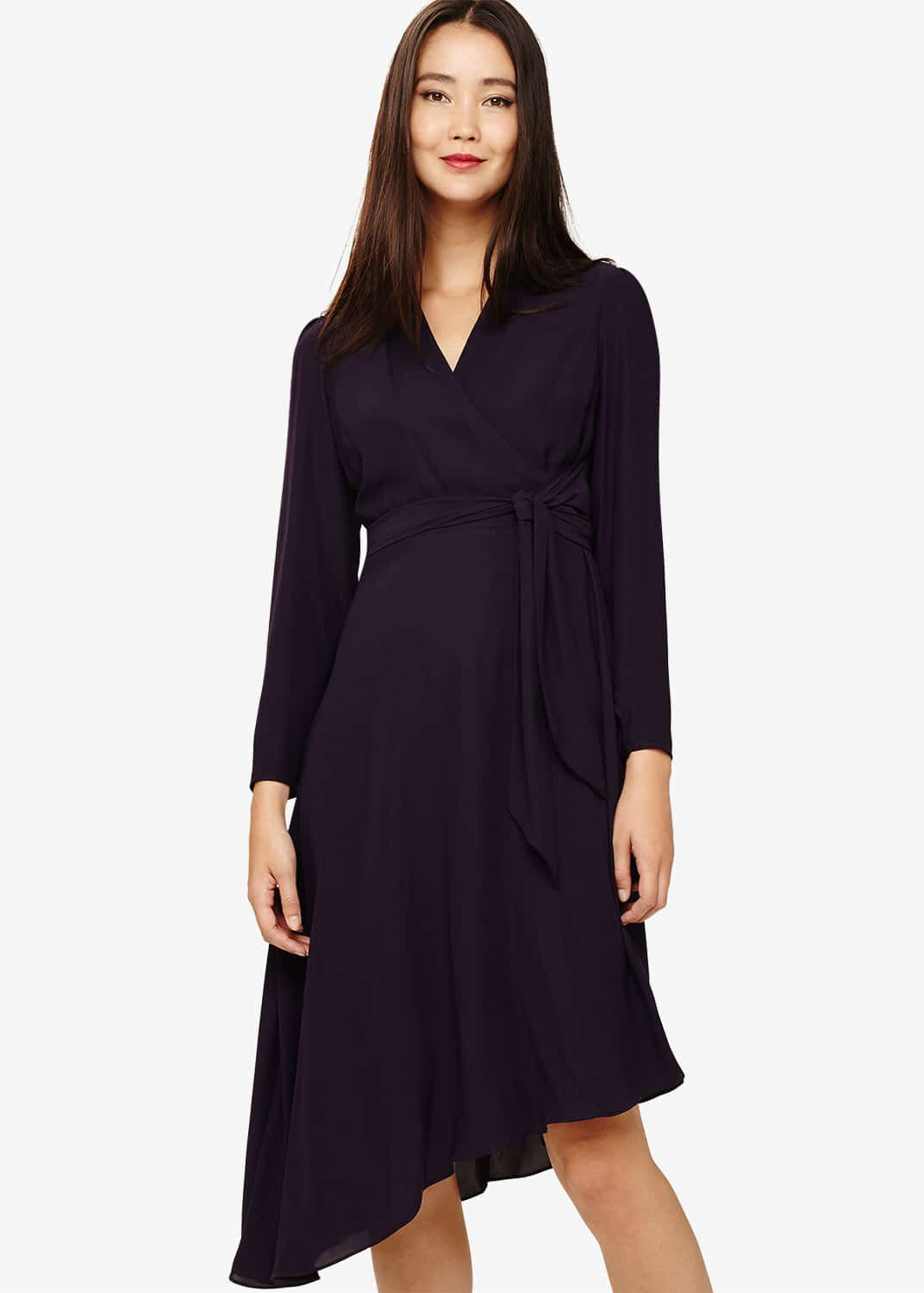 Phase Eight Justine Wrap Drape Dress, Purple, Wrap